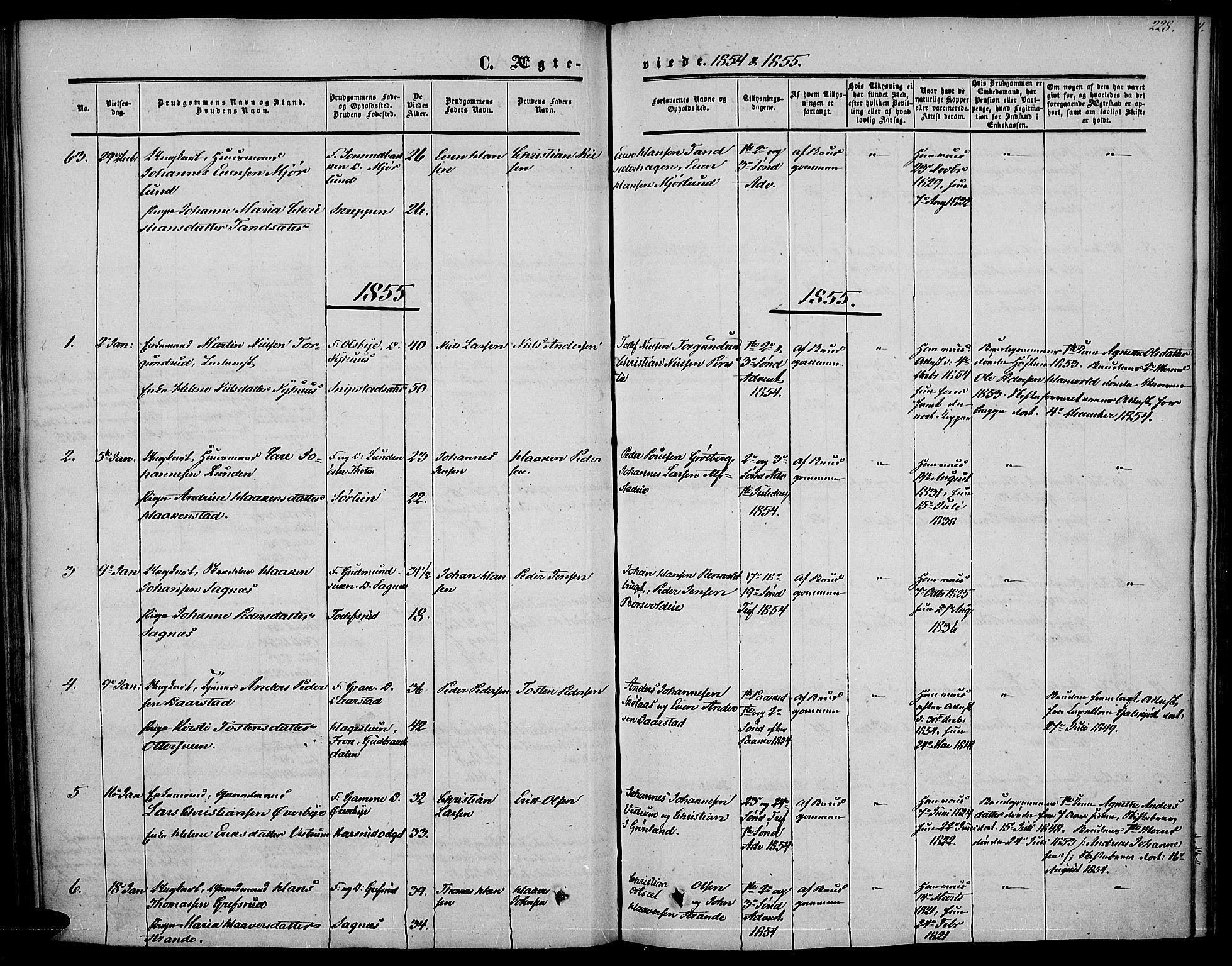 SAH, Vestre Toten prestekontor, Ministerialbok nr. 5, 1850-1855, s. 228
