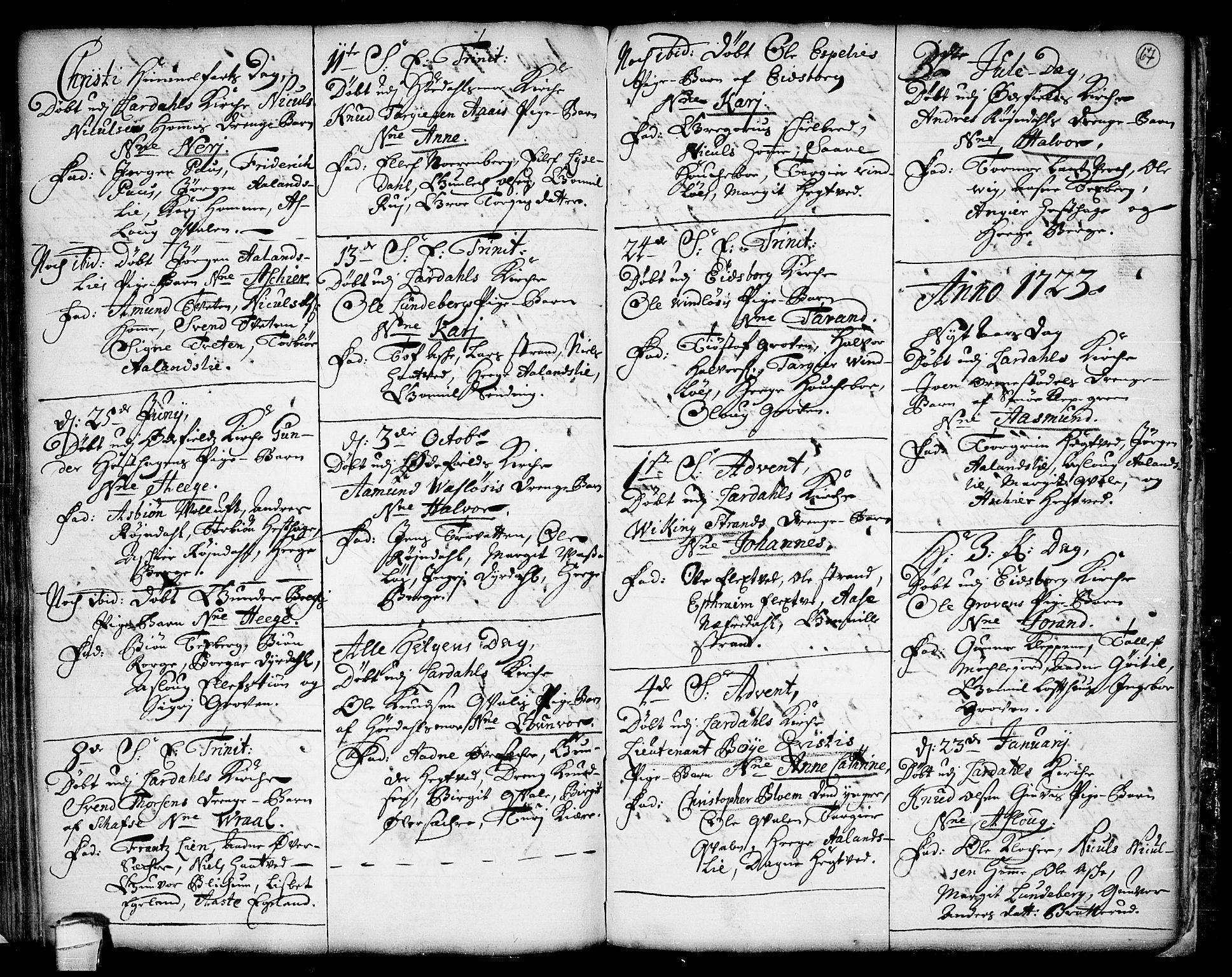 SAKO, Lårdal kirkebøker, F/Fa/L0001: Ministerialbok nr. I 1, 1721-1734, s. 67