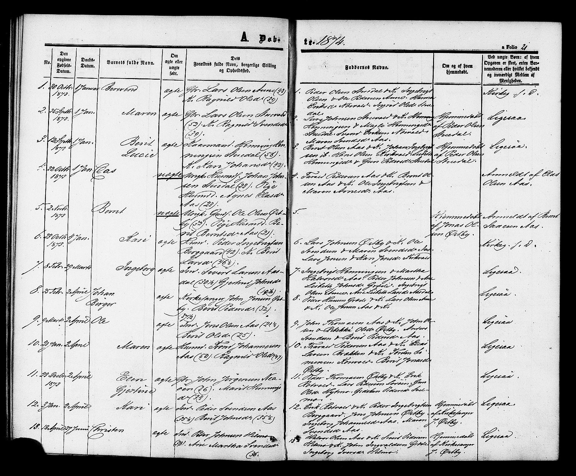 SAT, Ministerialprotokoller, klokkerbøker og fødselsregistre - Sør-Trøndelag, 698/L1163: Ministerialbok nr. 698A01, 1862-1887, s. 21