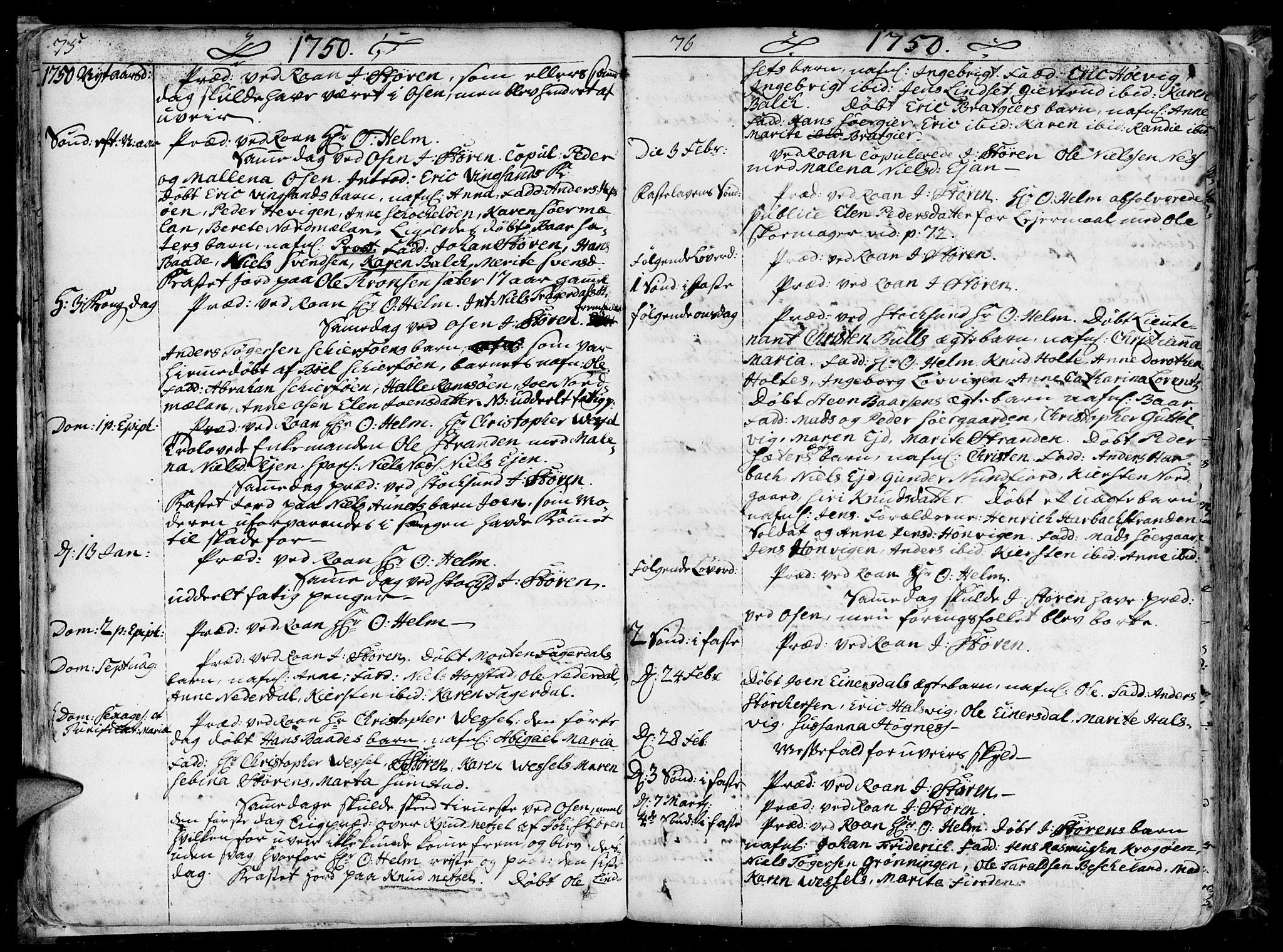 SAT, Ministerialprotokoller, klokkerbøker og fødselsregistre - Sør-Trøndelag, 657/L0700: Ministerialbok nr. 657A01, 1732-1801, s. 74-75