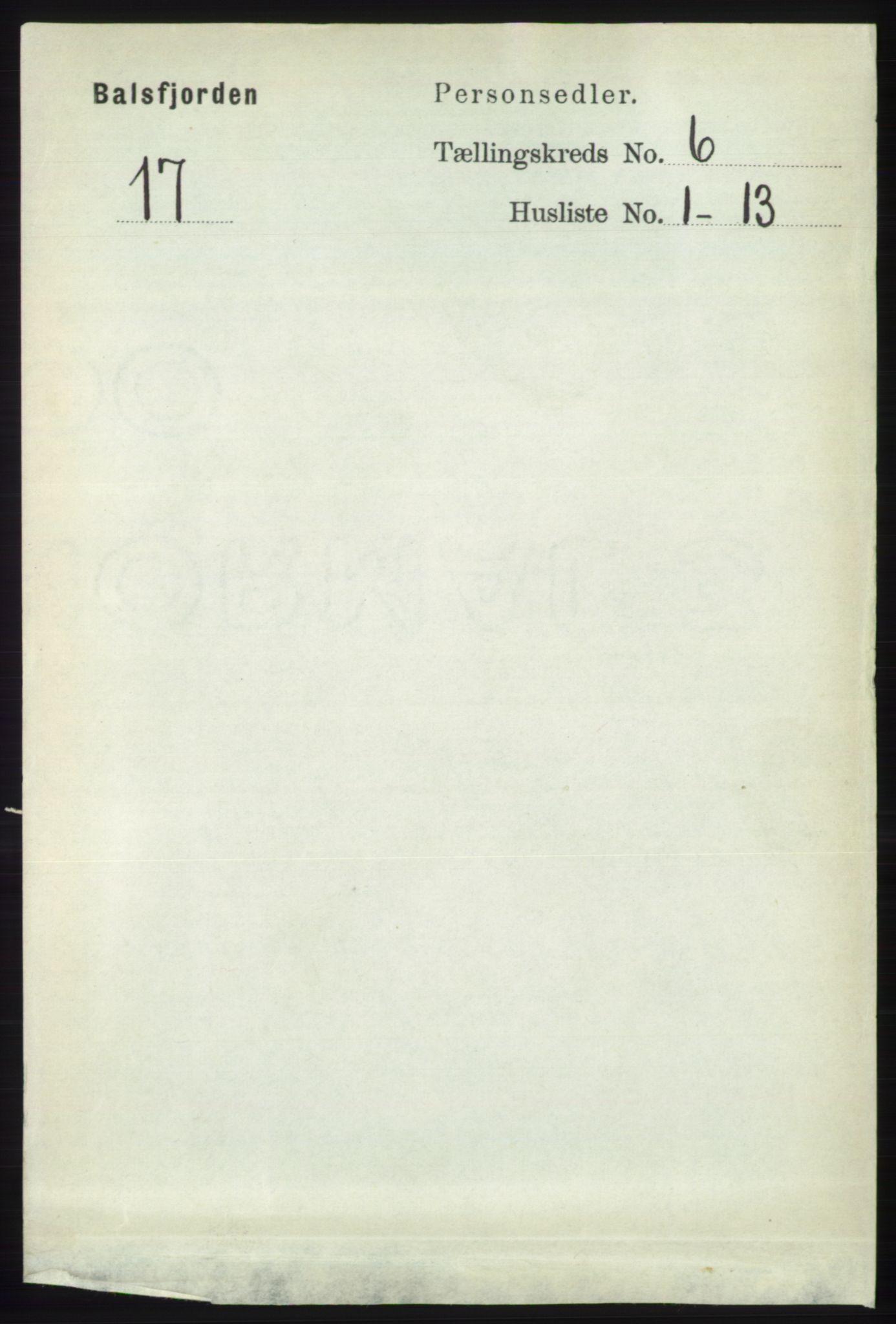 RA, Folketelling 1891 for 1933 Balsfjord herred, 1891, s. 1592