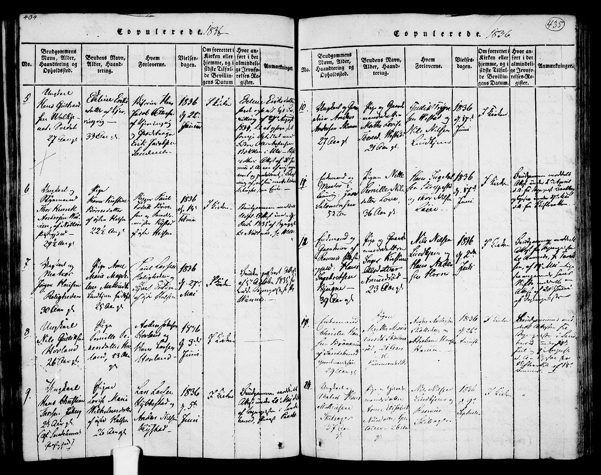 SAKO, Tjølling kirkebøker, F/Fa/L0005: Ministerialbok nr. 5, 1814-1836, s. 434-435