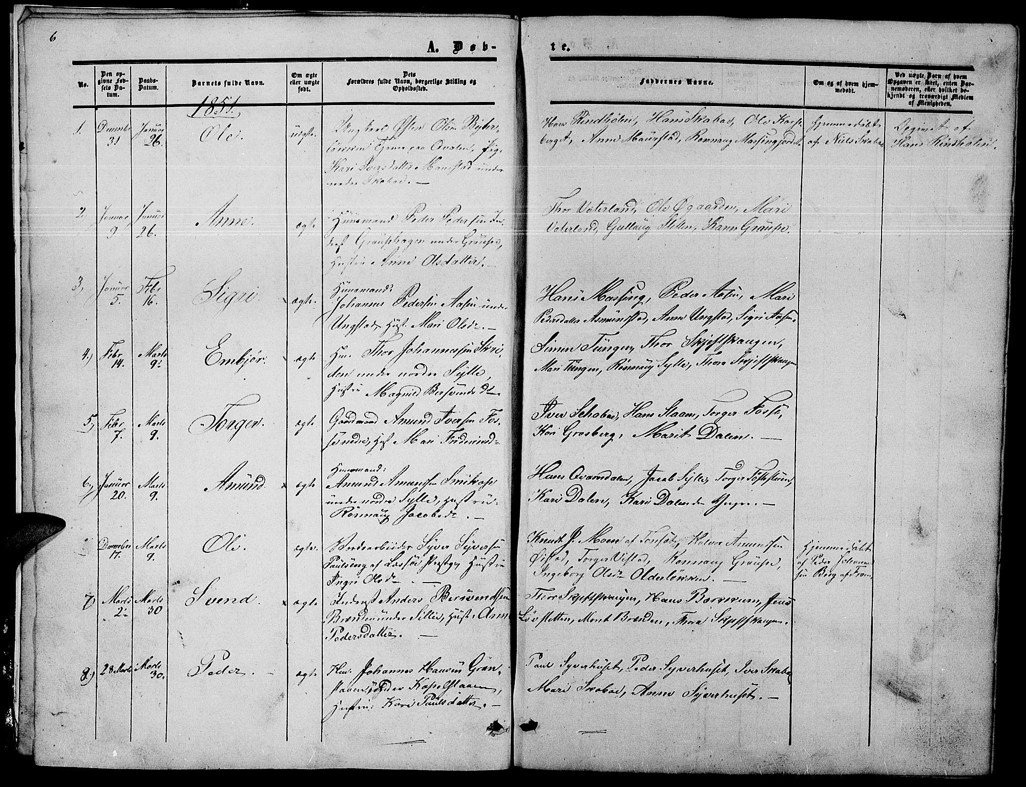 SAH, Nord-Fron prestekontor, Klokkerbok nr. 2, 1851-1883, s. 6