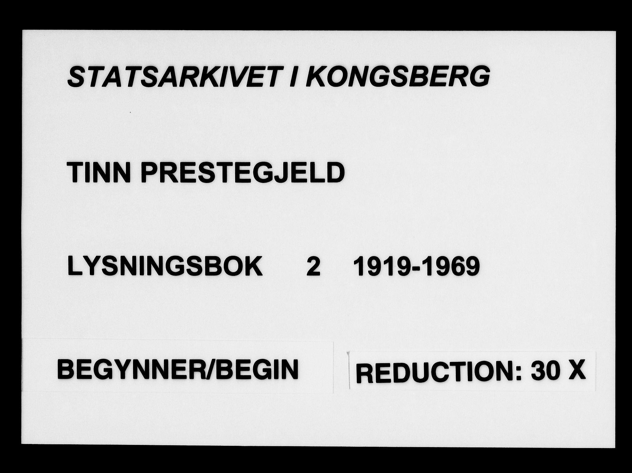 SAKO, Tinn kirkebøker, H/Ha/L0002: Lysningsprotokoll nr. 2, 1919-1969