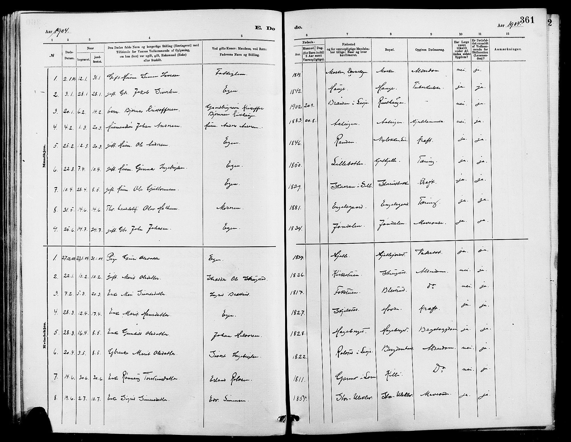 SAH, Dovre prestekontor, Klokkerbok nr. 2, 1881-1907, s. 361