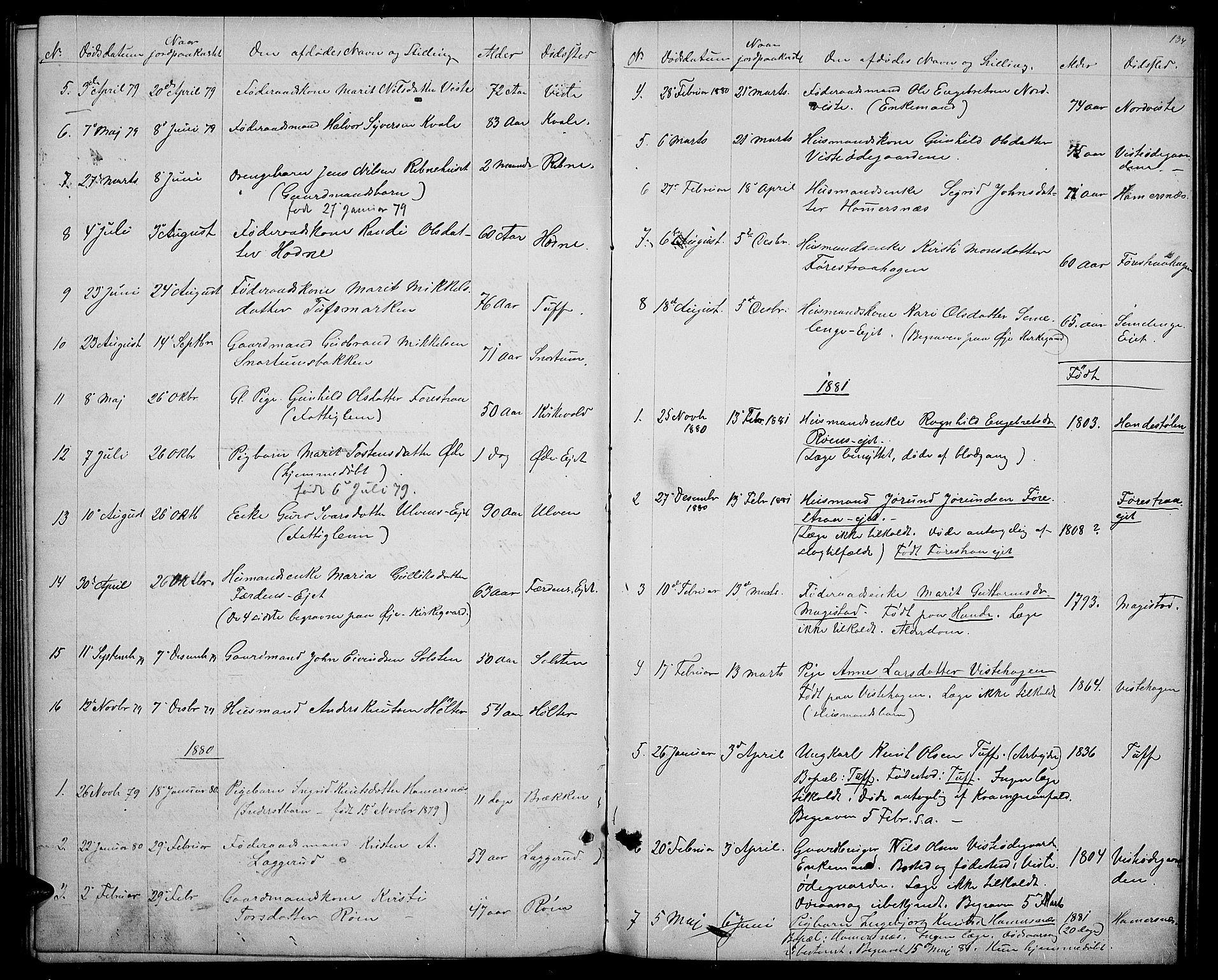 SAH, Vestre Slidre prestekontor, Klokkerbok nr. 3, 1869-1882, s. 134