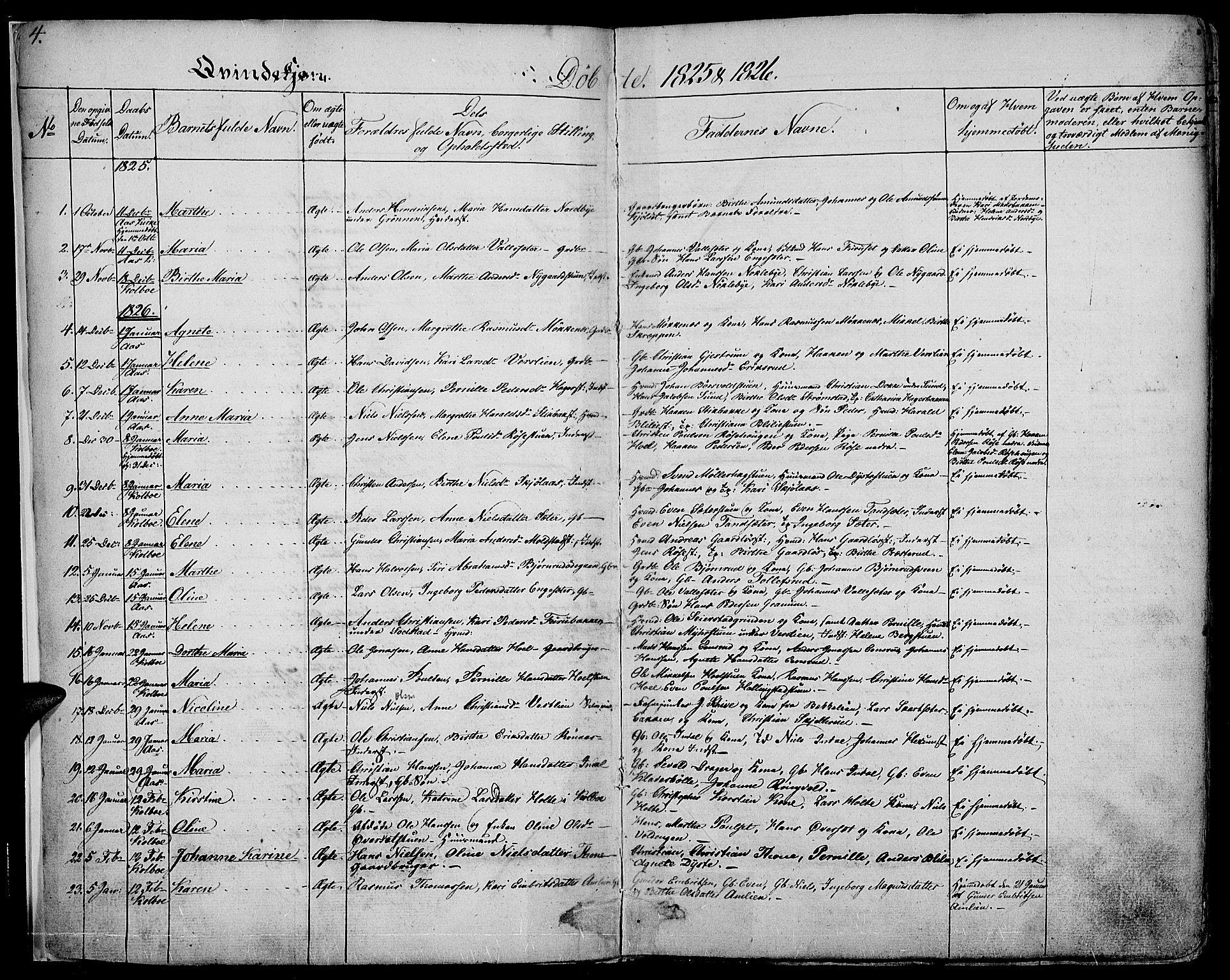 SAH, Vestre Toten prestekontor, Ministerialbok nr. 2, 1825-1837, s. 4
