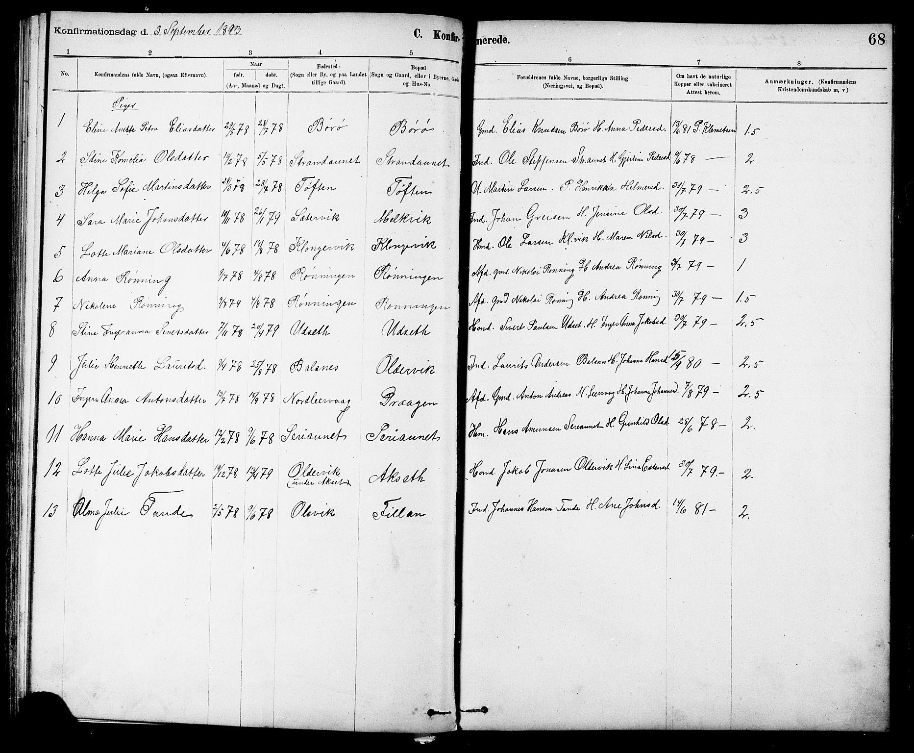SAT, Ministerialprotokoller, klokkerbøker og fødselsregistre - Sør-Trøndelag, 639/L0573: Klokkerbok nr. 639C01, 1890-1905, s. 68