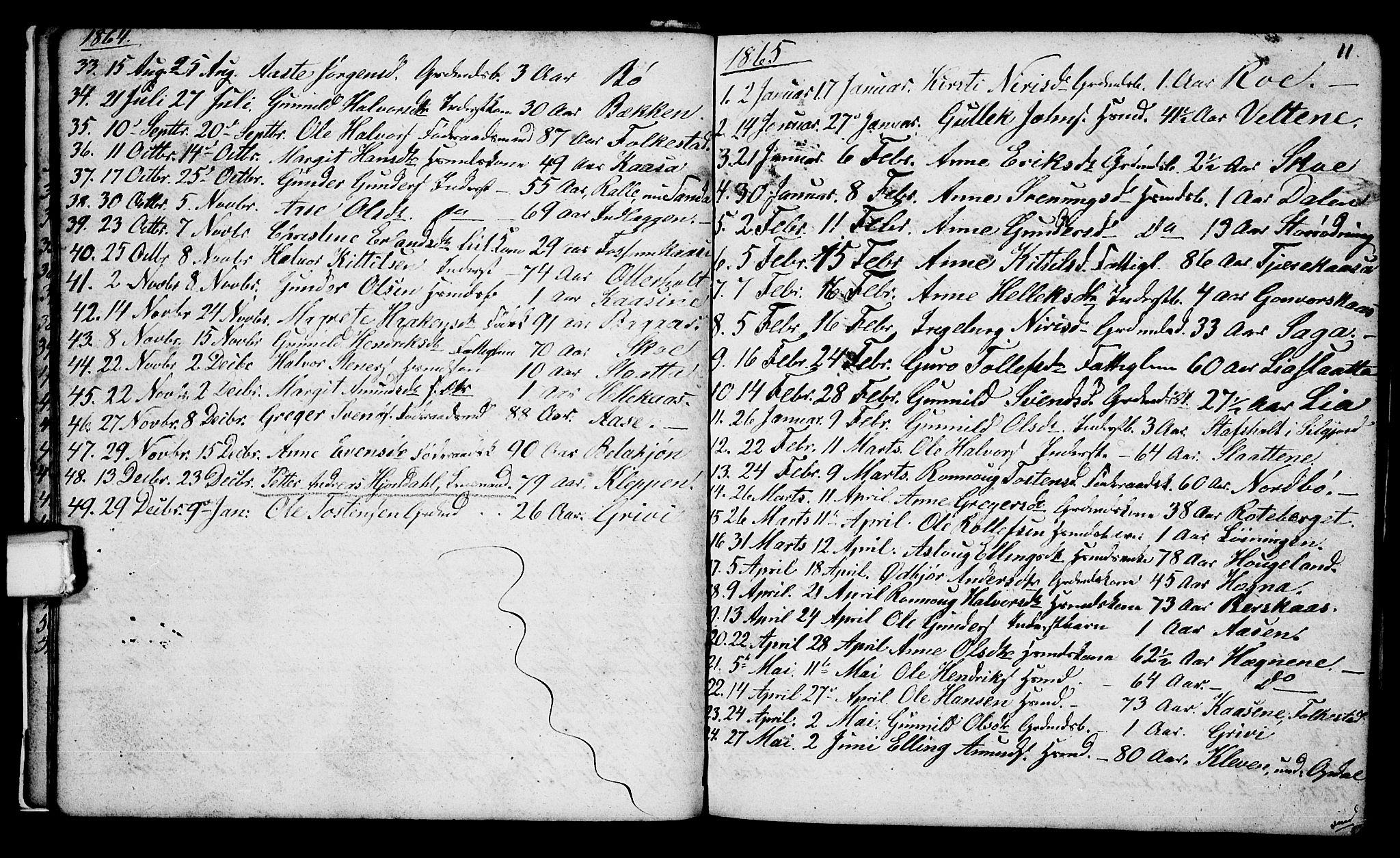 SAKO, Bø kirkebøker, G/Ga/L0002: Klokkerbok nr. 2, 1853-1866, s. 11