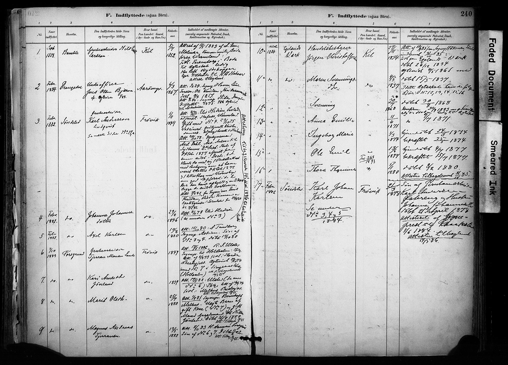 SAKO, Sannidal kirkebøker, F/Fa/L0015: Ministerialbok nr. 15, 1884-1899, s. 240