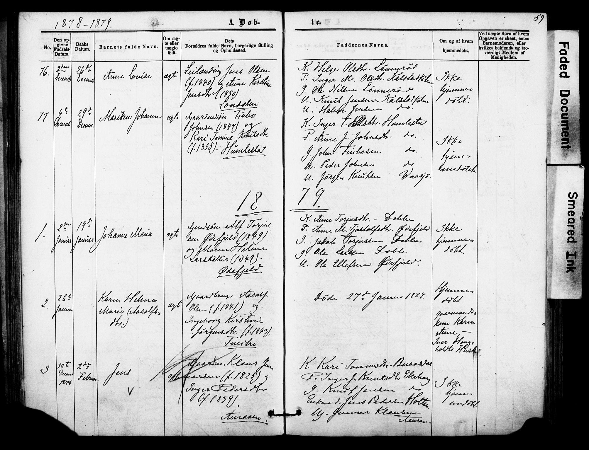 SAKO, Sannidal kirkebøker, F/Fa/L0014: Ministerialbok nr. 14, 1874-1883, s. 59