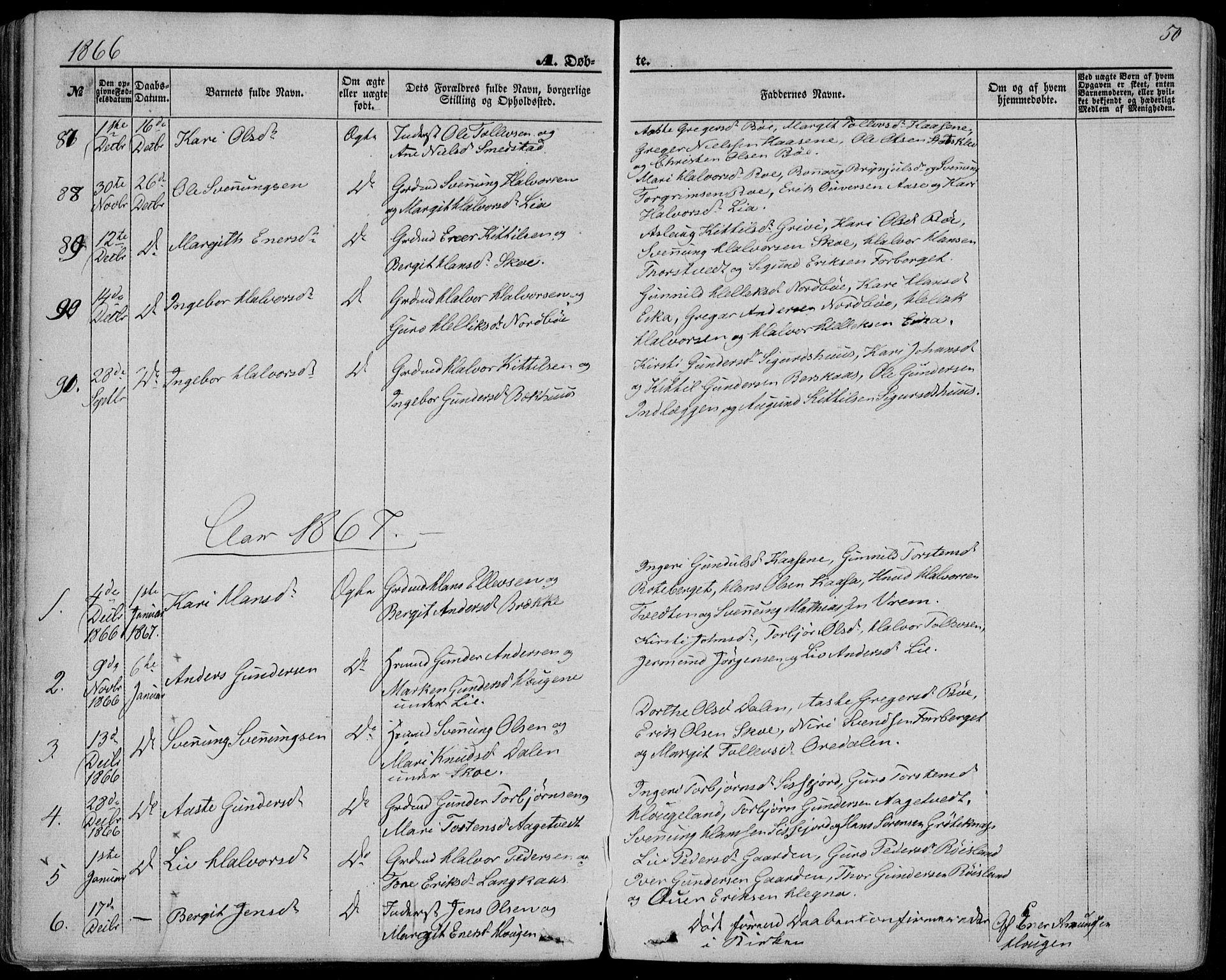 SAKO, Bø kirkebøker, F/Fa/L0009: Ministerialbok nr. 9, 1862-1879, s. 50