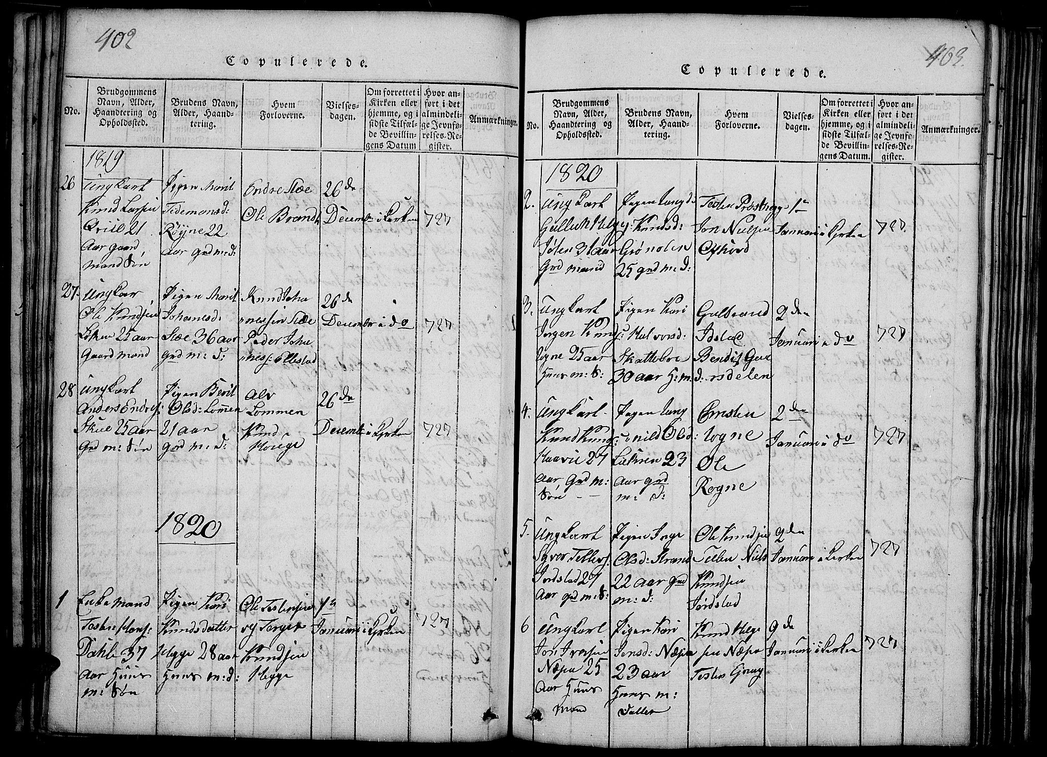 SAH, Slidre prestekontor, Ministerialbok nr. 2, 1814-1830, s. 402-403
