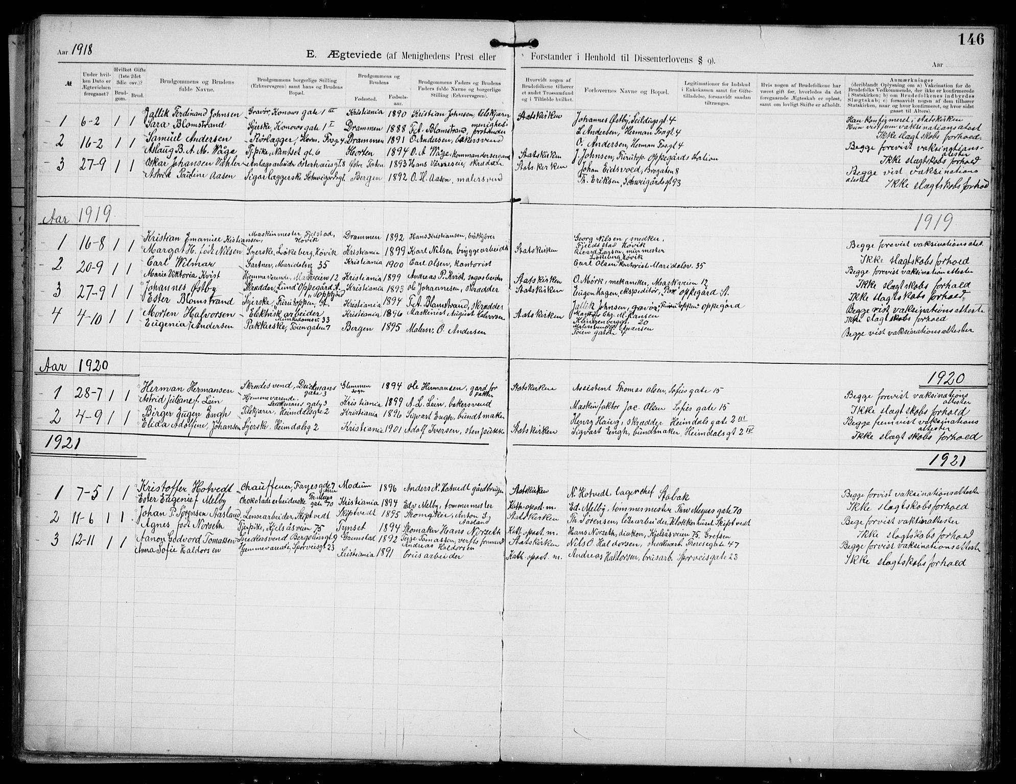 SAO, Den katolsk apostoliske menighet i Oslo , F/Fa/L0002: Dissenterprotokoll nr. 2, 1892-1937, s. 146