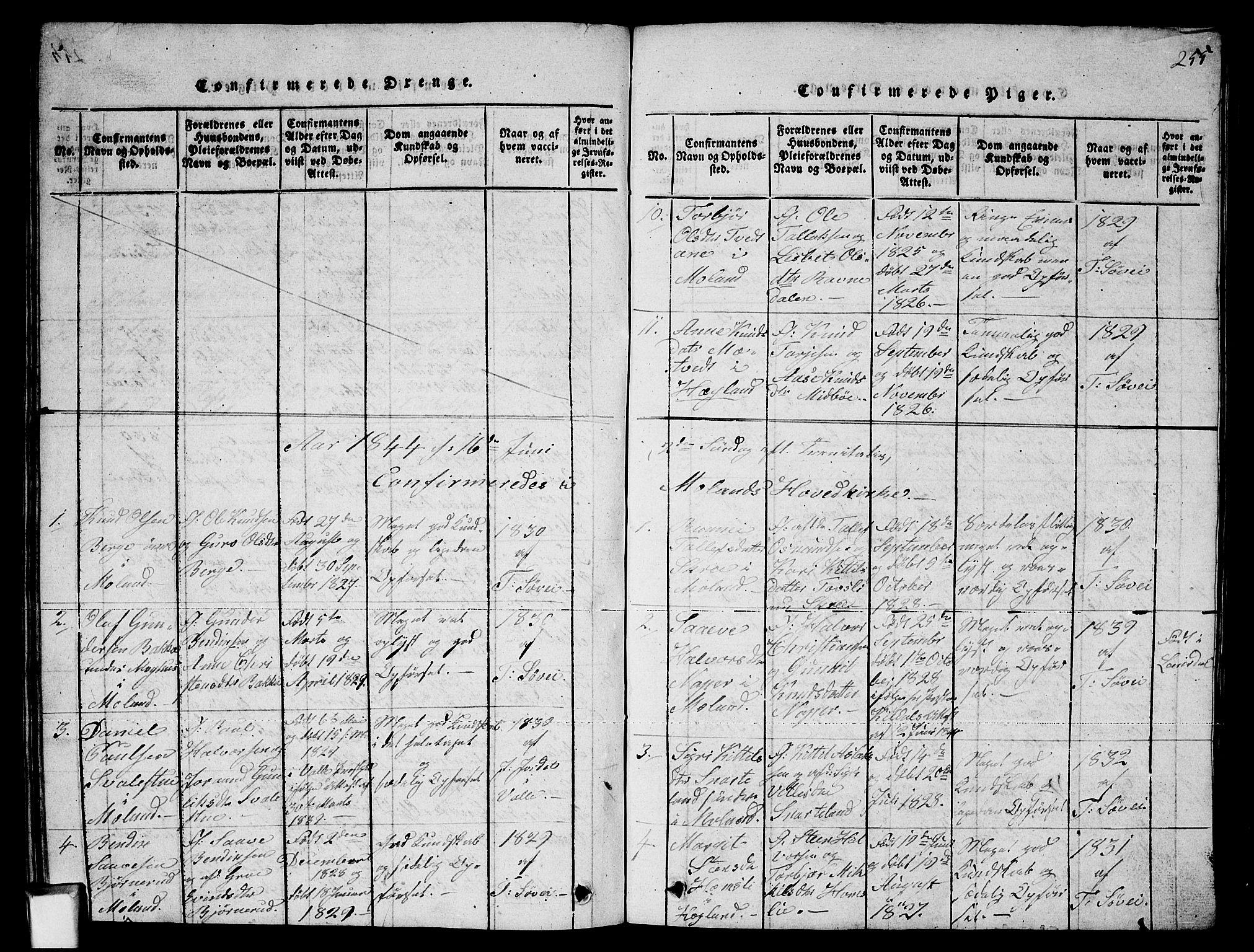 SAKO, Fyresdal kirkebøker, G/Ga/L0002: Klokkerbok nr. I 2, 1815-1857, s. 255