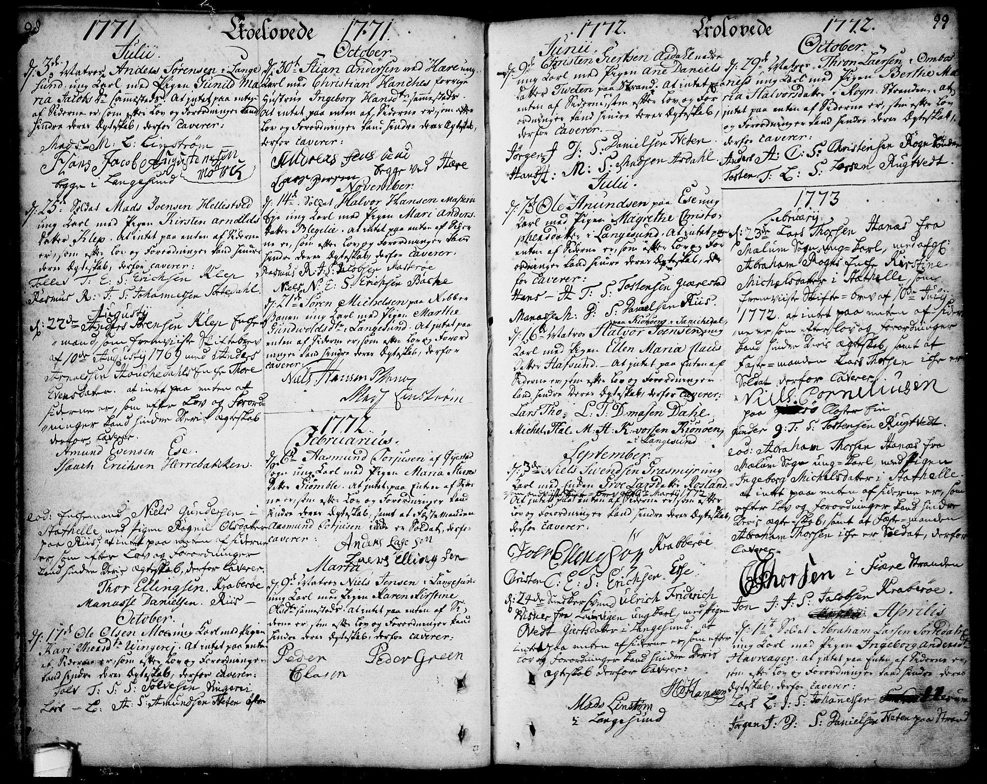 SAKO, Bamble kirkebøker, F/Fa/L0001: Ministerialbok nr. I 1, 1702-1774, s. 98-99