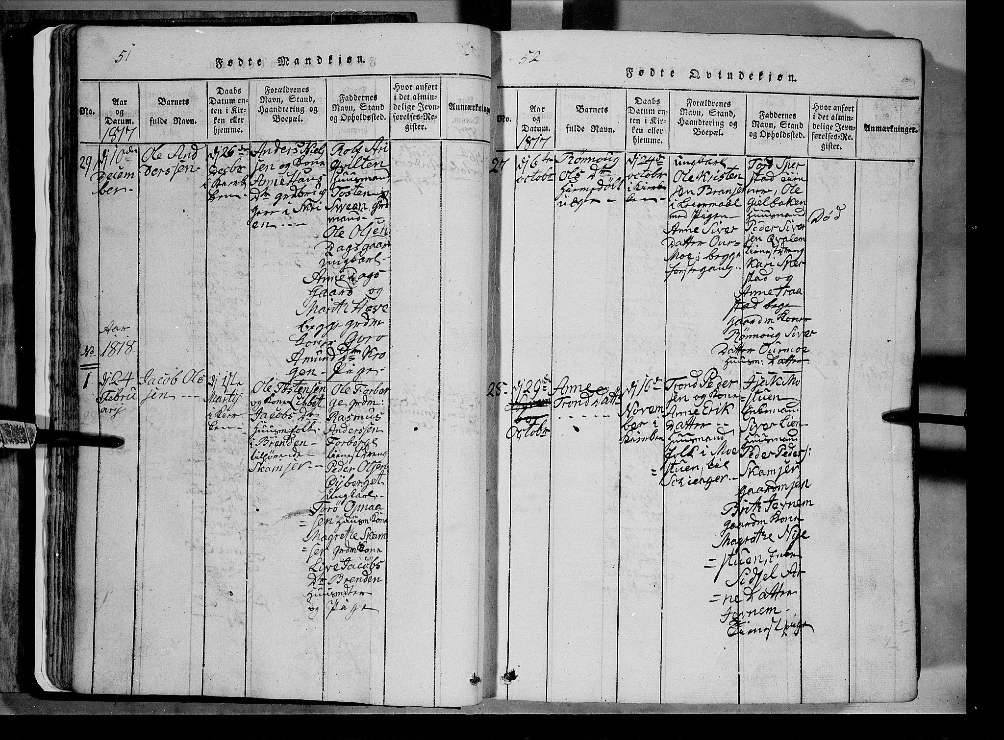 SAH, Lom prestekontor, L/L0003: Klokkerbok nr. 3, 1815-1844, s. 51-52