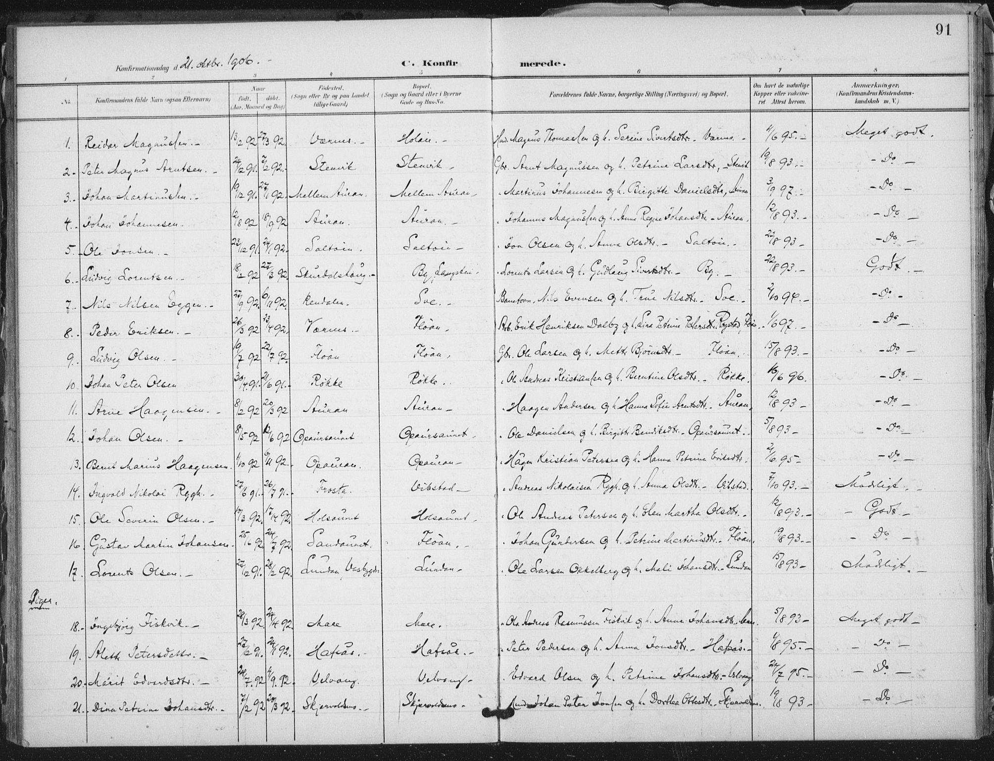 SAT, Ministerialprotokoller, klokkerbøker og fødselsregistre - Nord-Trøndelag, 712/L0101: Ministerialbok nr. 712A02, 1901-1916, s. 91