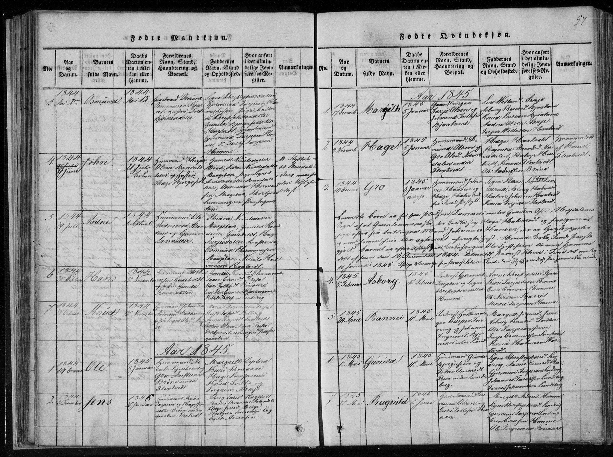 SAKO, Lårdal kirkebøker, F/Fa/L0005: Ministerialbok nr. I 5, 1815-1860, s. 57