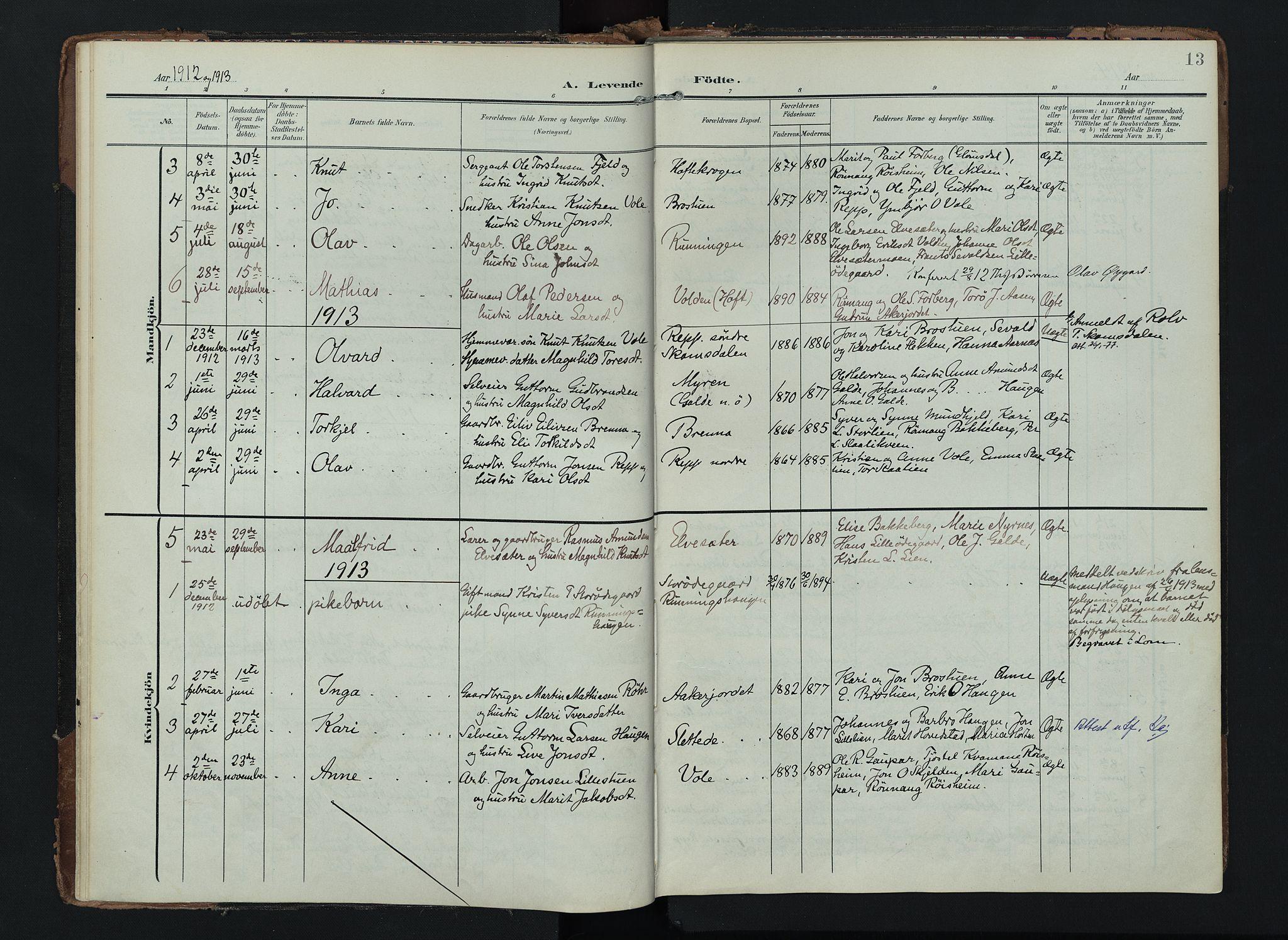 SAH, Lom prestekontor, K/L0012: Ministerialbok nr. 12, 1904-1928, s. 13
