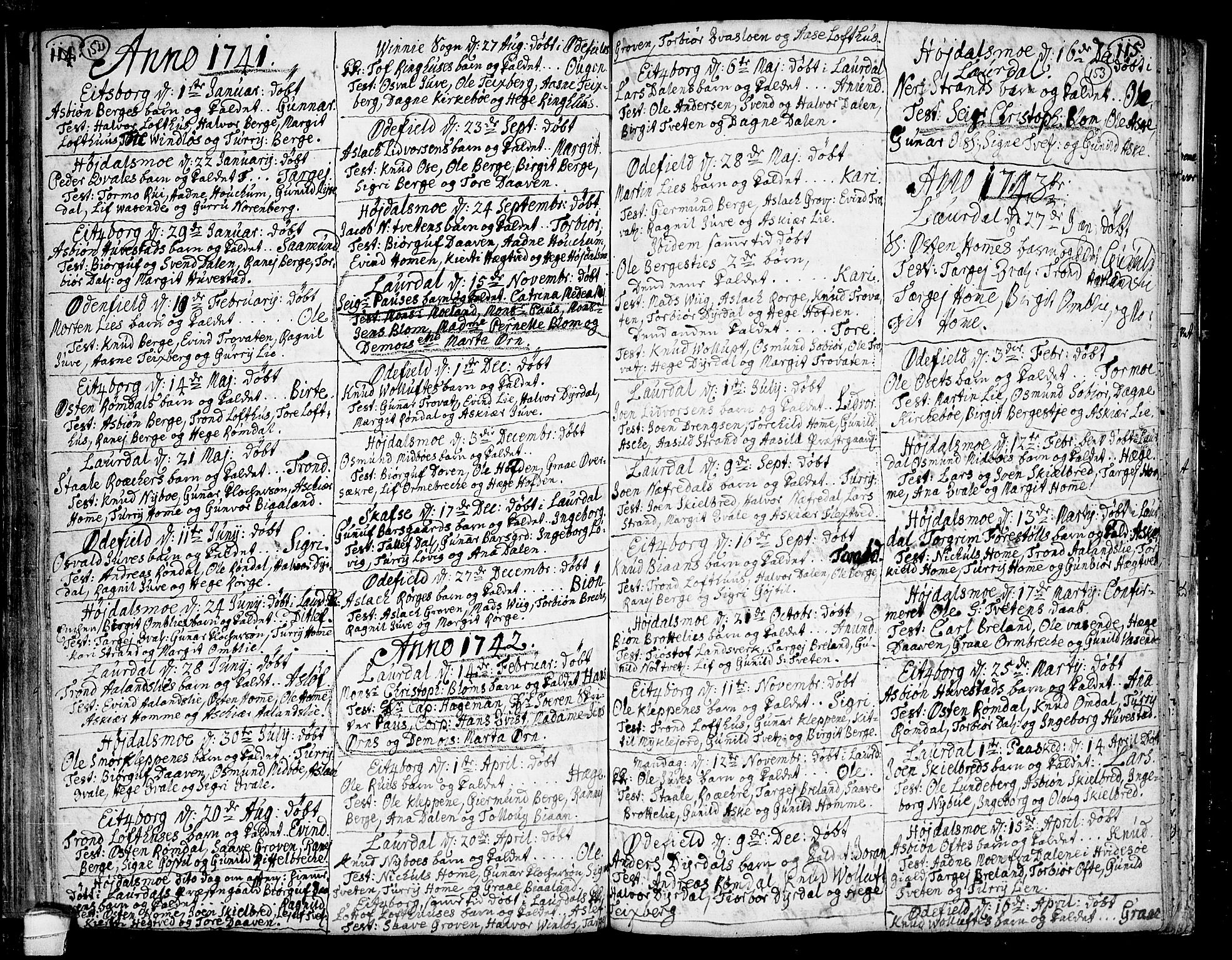 SAKO, Lårdal kirkebøker, F/Fa/L0002: Ministerialbok nr. I 2, 1734-1754, s. 152-153