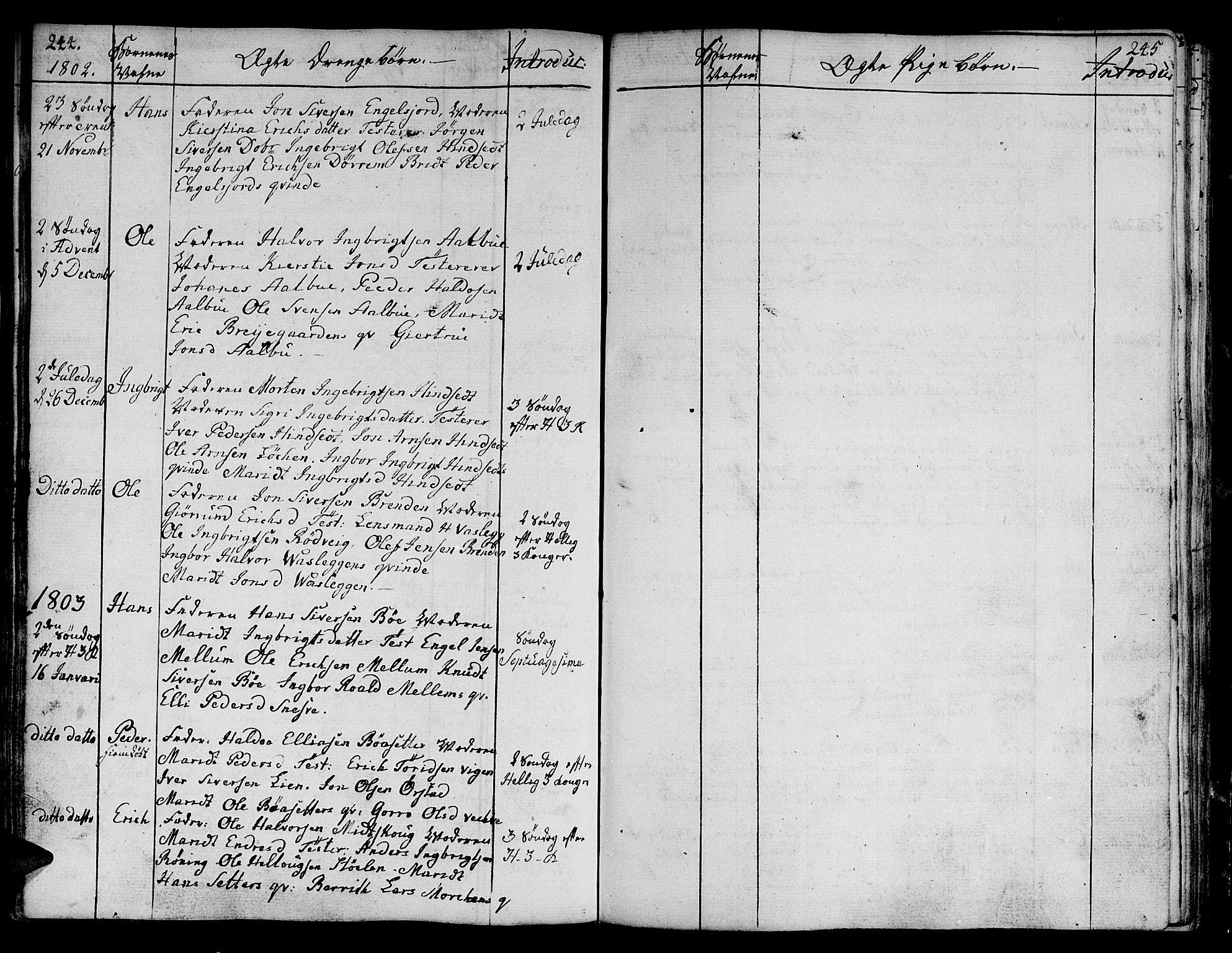 SAT, Ministerialprotokoller, klokkerbøker og fødselsregistre - Sør-Trøndelag, 678/L0893: Ministerialbok nr. 678A03, 1792-1805, s. 244-245