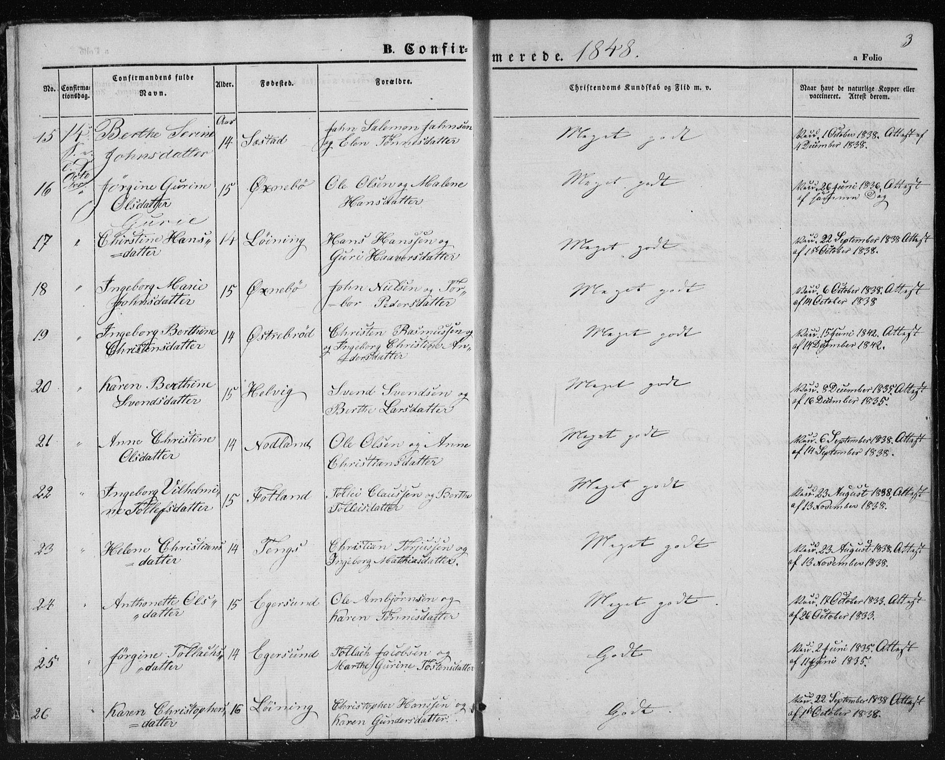 SAST, Egersund sokneprestkontor, Ministerialbok nr. A 10, 1848-1849, s. 3