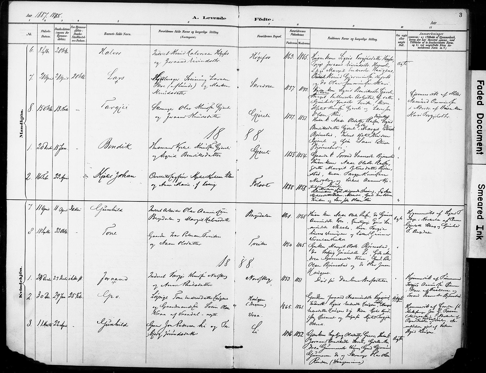 SAKO, Fyresdal kirkebøker, F/Fb/L0003: Ministerialbok nr. II 3, 1887-1903, s. 3