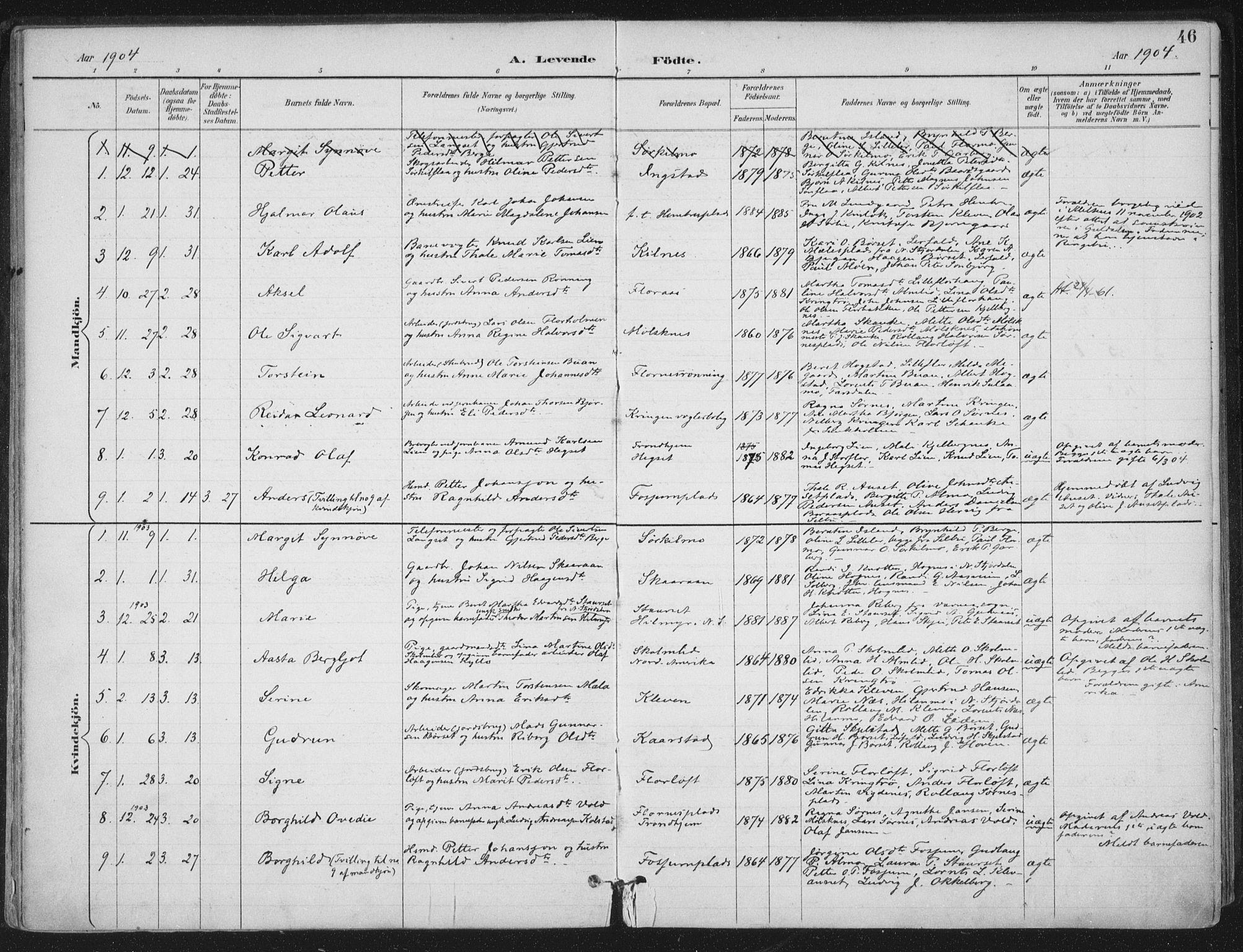 SAT, Ministerialprotokoller, klokkerbøker og fødselsregistre - Nord-Trøndelag, 703/L0031: Ministerialbok nr. 703A04, 1893-1914, s. 46