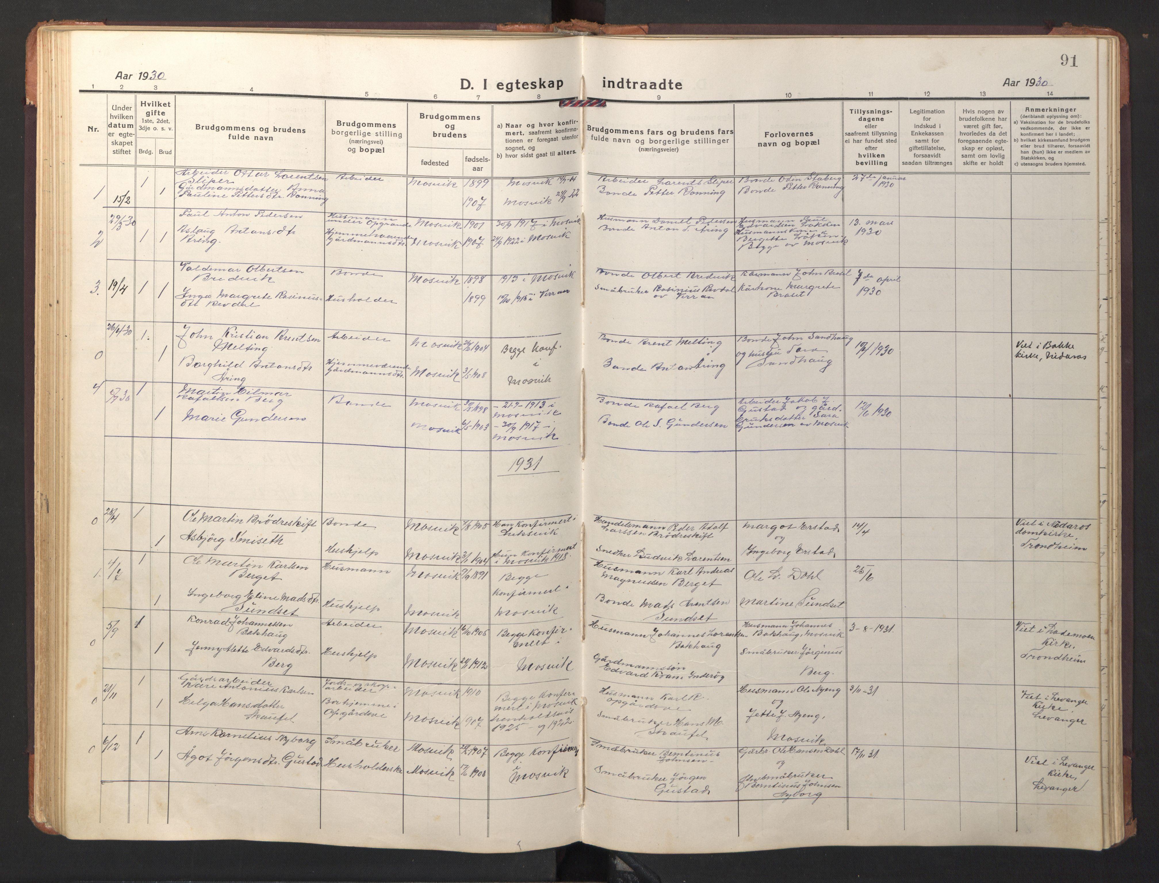 SAT, Ministerialprotokoller, klokkerbøker og fødselsregistre - Nord-Trøndelag, 733/L0328: Klokkerbok nr. 733C03, 1919-1966, s. 91