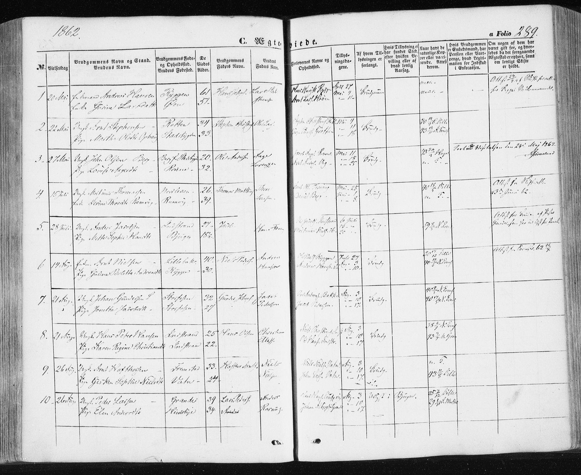 SAT, Ministerialprotokoller, klokkerbøker og fødselsregistre - Sør-Trøndelag, 659/L0737: Ministerialbok nr. 659A07, 1857-1875, s. 289