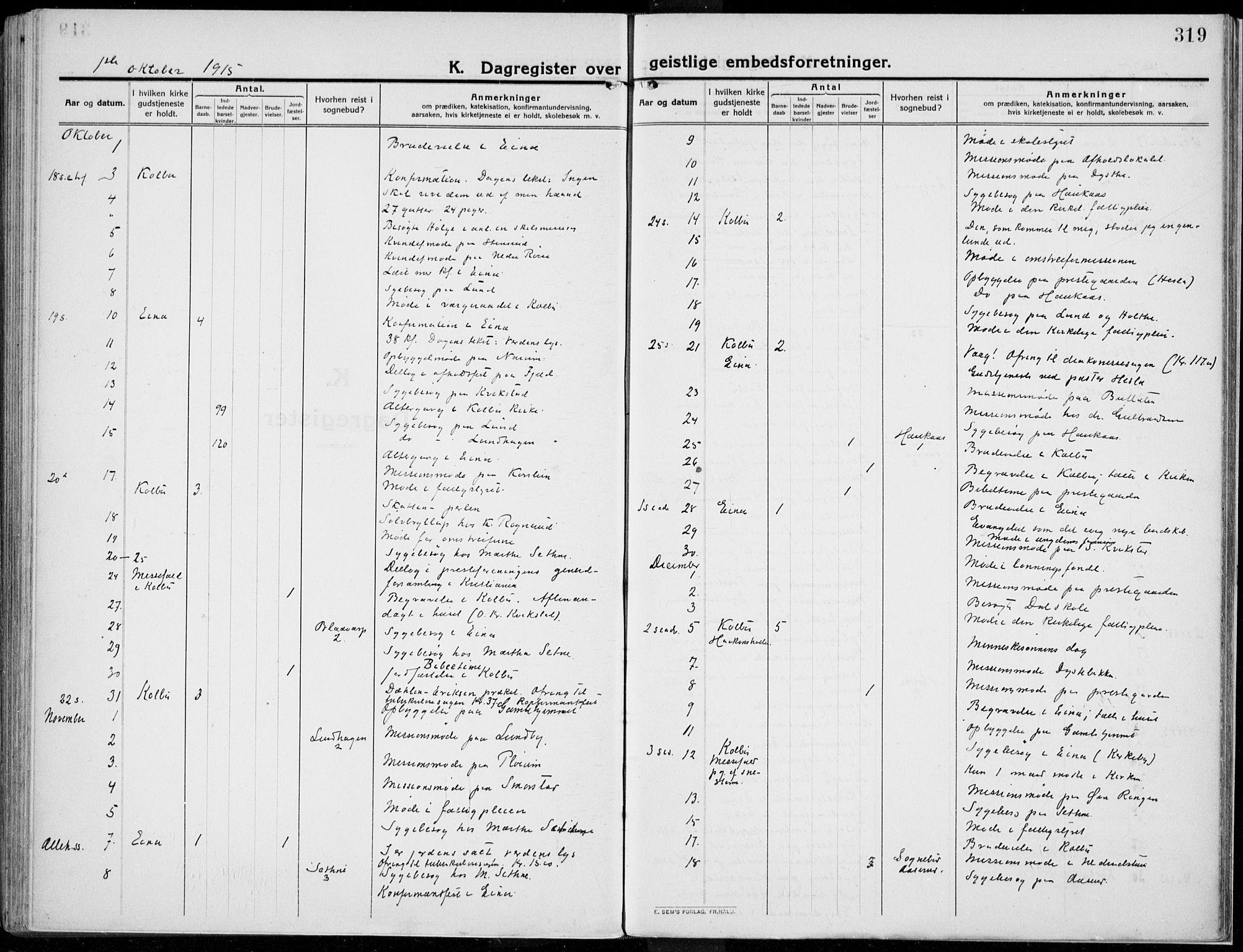 SAH, Kolbu prestekontor, Ministerialbok nr. 2, 1912-1926, s. 319