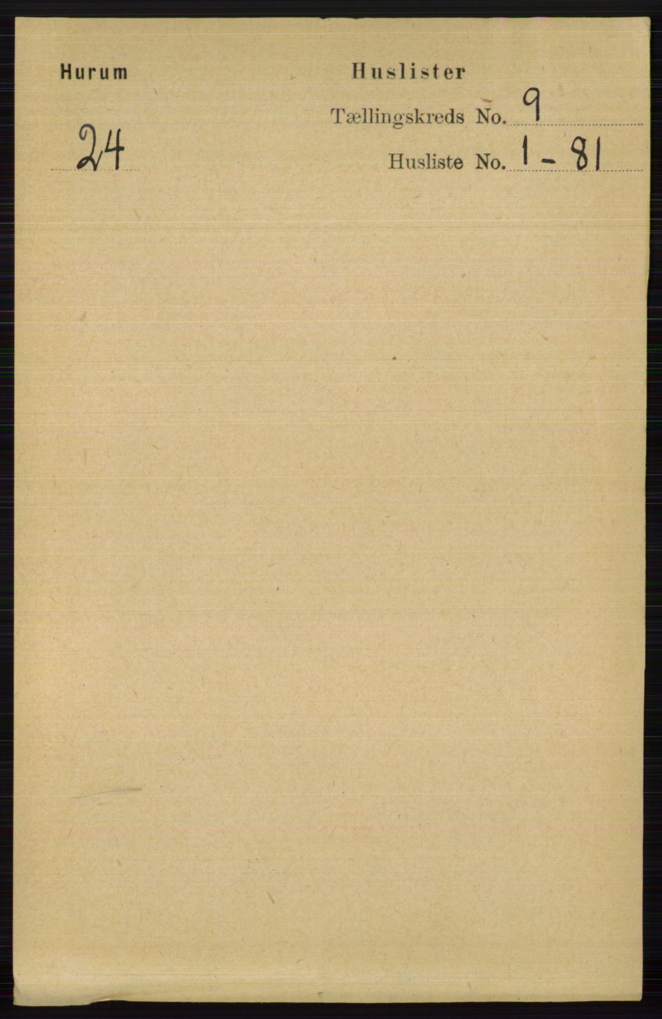RA, Folketelling 1891 for 0628 Hurum herred, 1891, s. 2727