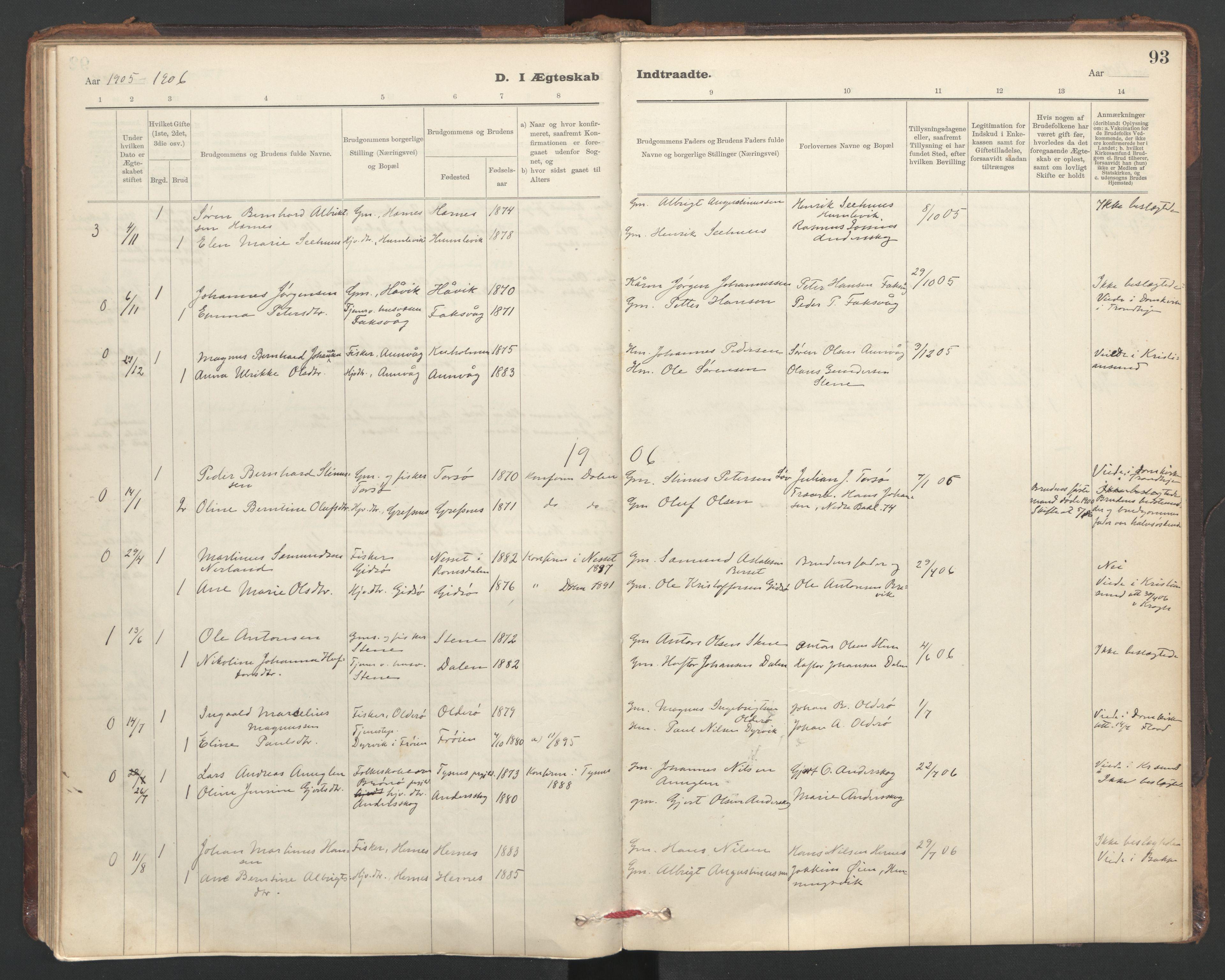 SAT, Ministerialprotokoller, klokkerbøker og fødselsregistre - Sør-Trøndelag, 635/L0552: Ministerialbok nr. 635A02, 1899-1919, s. 93