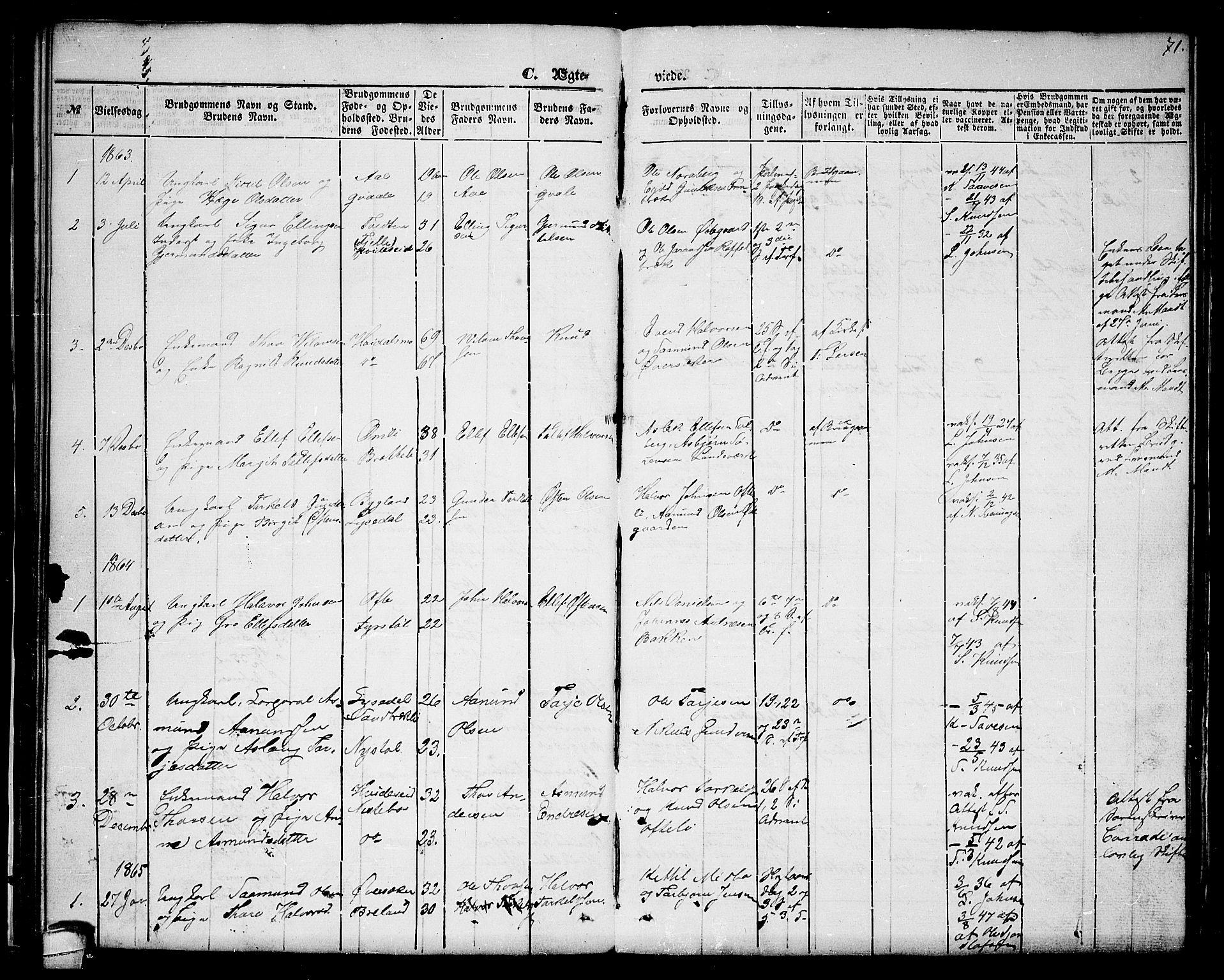 SAKO, Lårdal kirkebøker, G/Gc/L0002: Klokkerbok nr. III 2, 1852-1877, s. 71