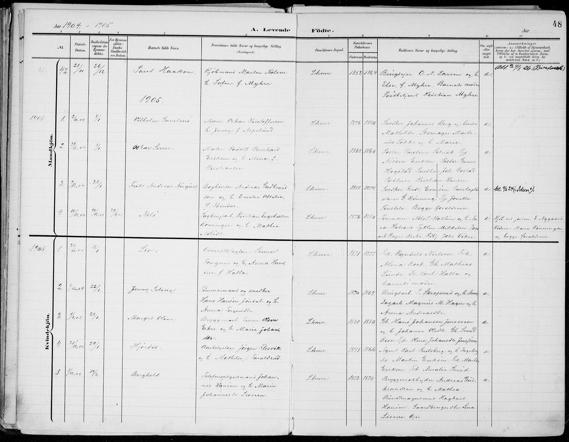 SAH, Lillehammer prestekontor, Ministerialbok nr. 1, 1901-1916, s. 48