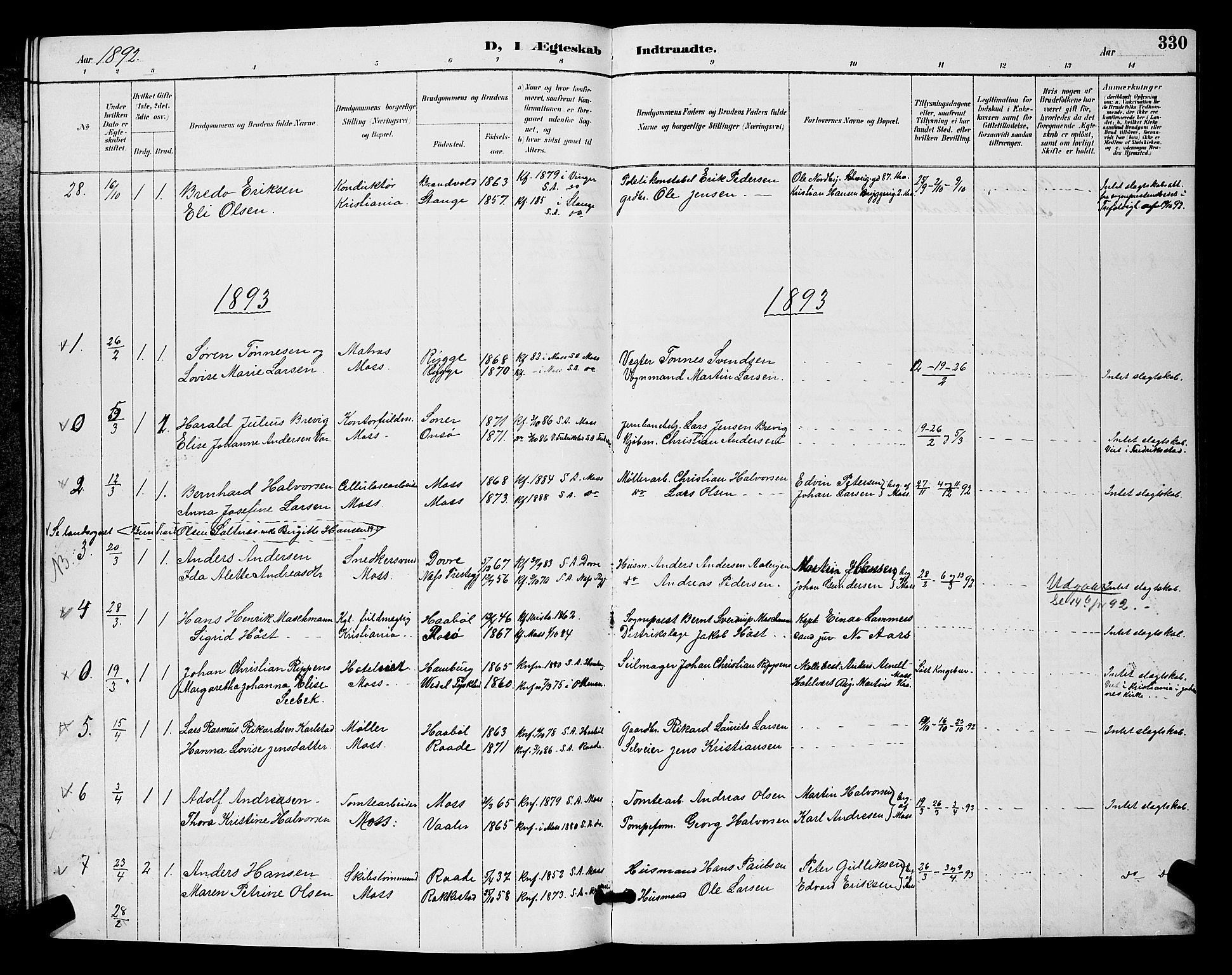 SAO, Moss prestekontor Kirkebøker, G/Ga/L0006: Klokkerbok nr. I 6, 1889-1900, s. 330