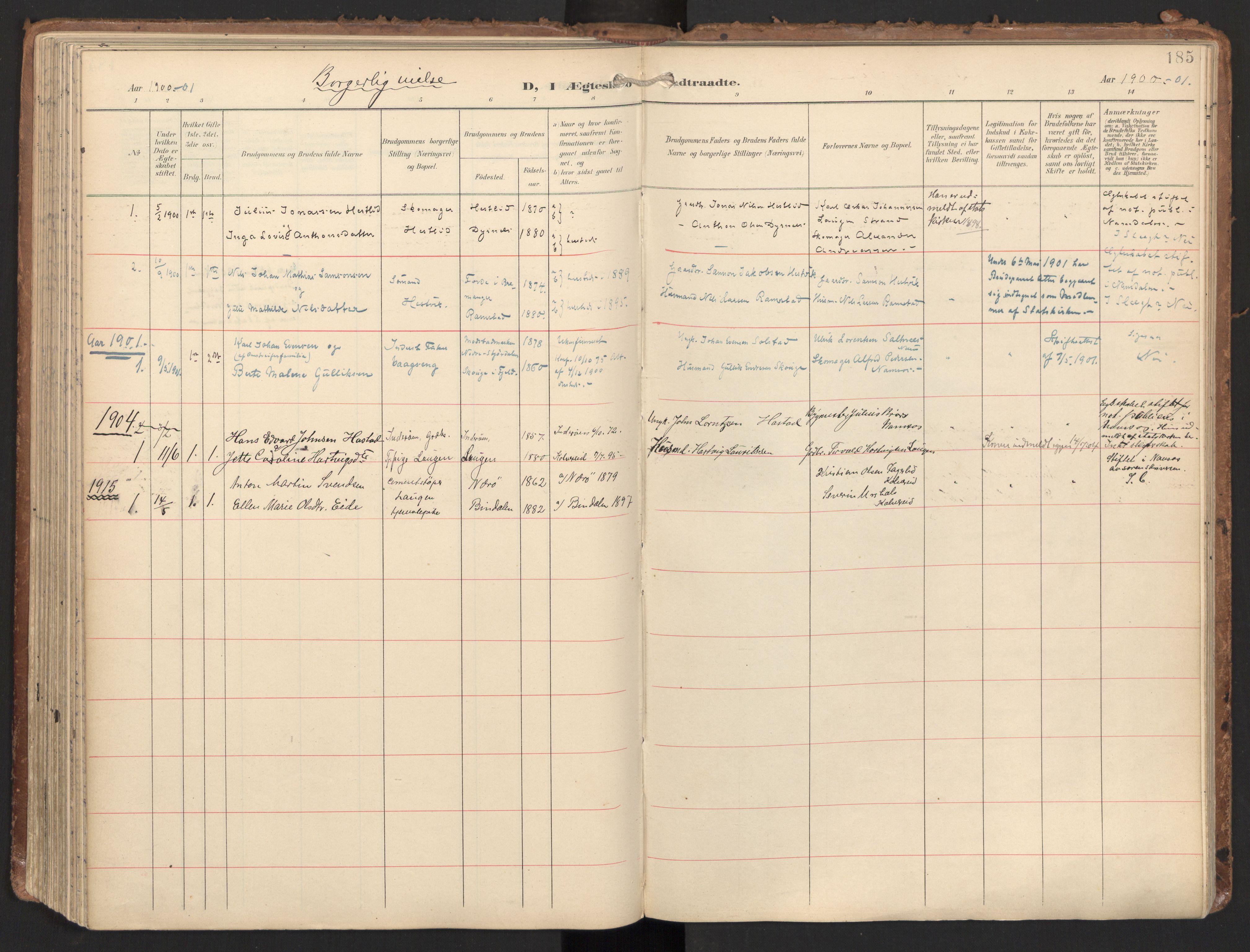 SAT, Ministerialprotokoller, klokkerbøker og fødselsregistre - Nord-Trøndelag, 784/L0677: Ministerialbok nr. 784A12, 1900-1920, s. 185