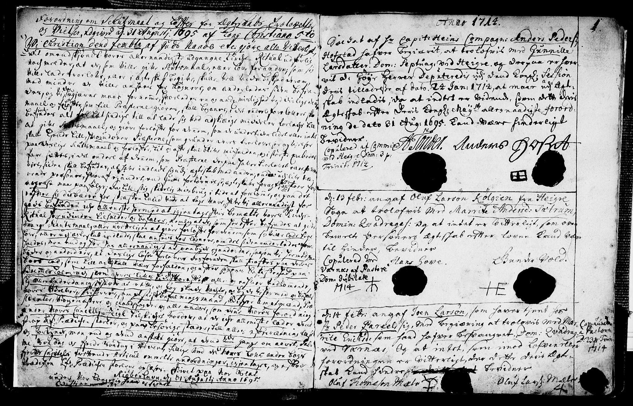 SAT, Ministerialprotokoller, klokkerbøker og fødselsregistre - Nord-Trøndelag, 709/L0053: Ministerialbok nr. 709A01, 1714-1729, s. 1