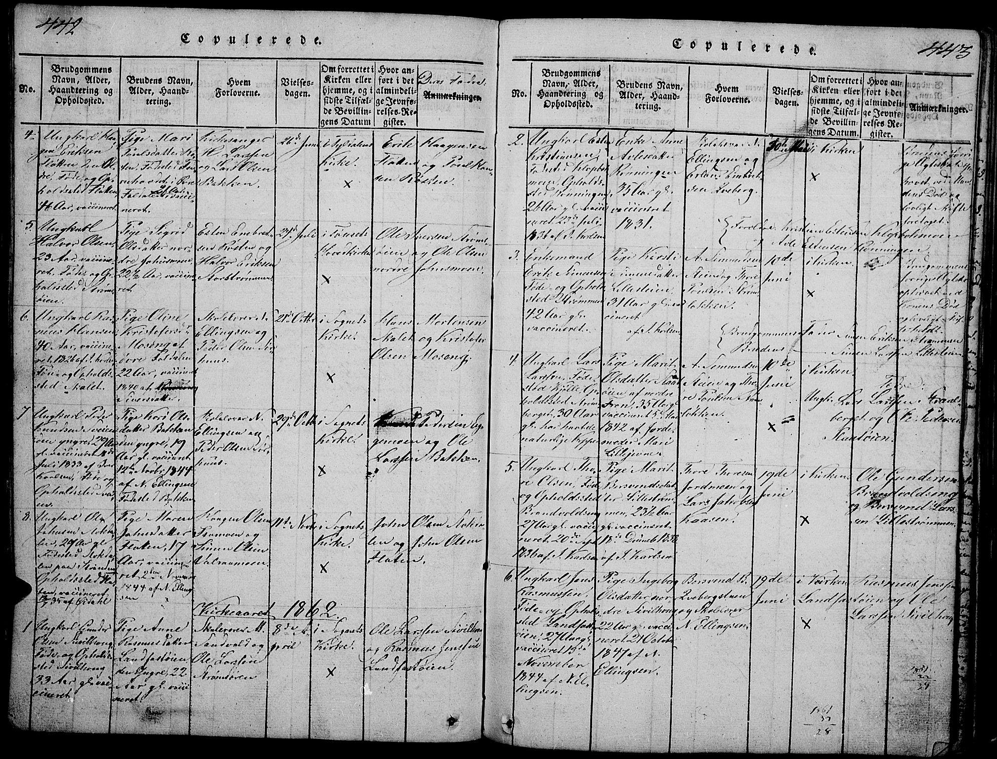 SAH, Tynset prestekontor, Klokkerbok nr. 2, 1814-1862, s. 442-443