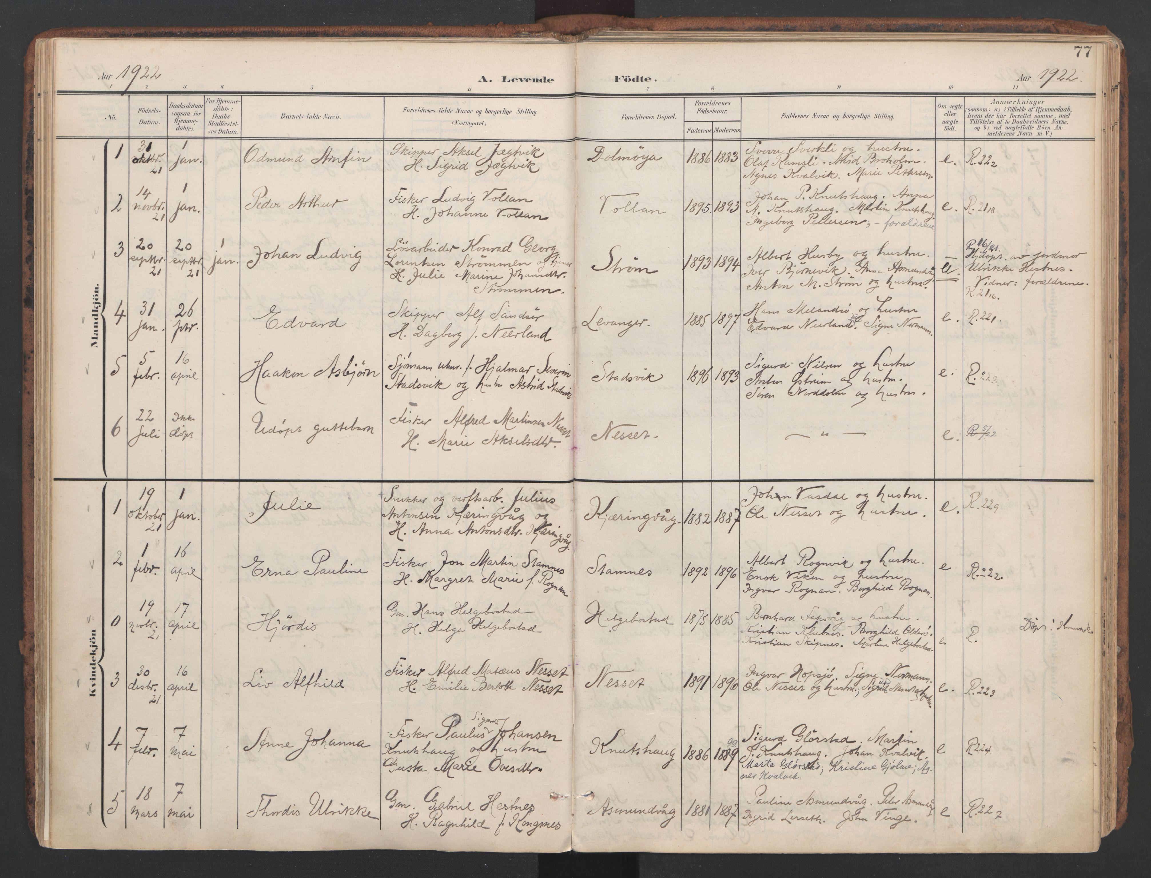 SAT, Ministerialprotokoller, klokkerbøker og fødselsregistre - Sør-Trøndelag, 634/L0537: Ministerialbok nr. 634A13, 1896-1922, s. 77
