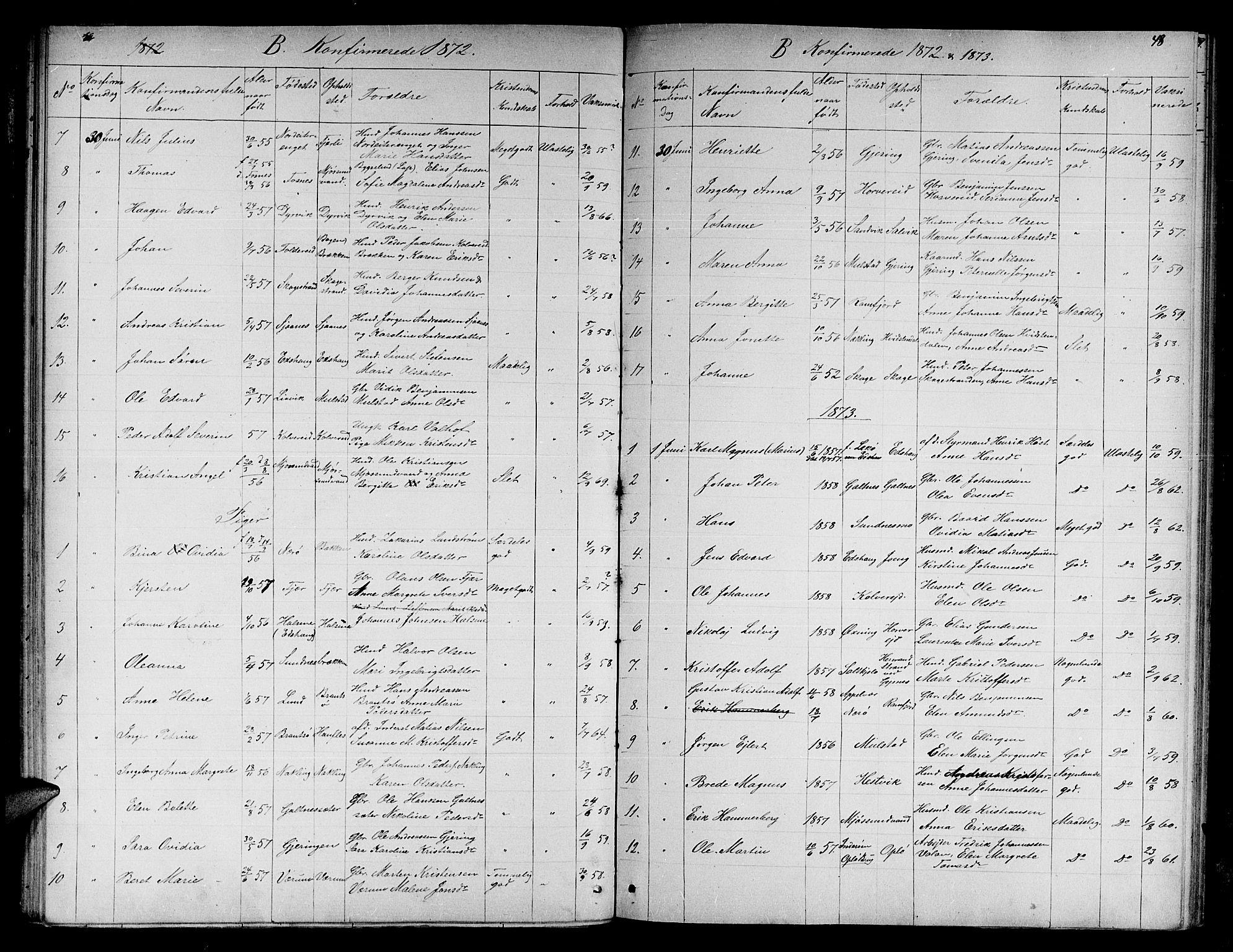 SAT, Ministerialprotokoller, klokkerbøker og fødselsregistre - Nord-Trøndelag, 780/L0650: Klokkerbok nr. 780C02, 1866-1884, s. 48
