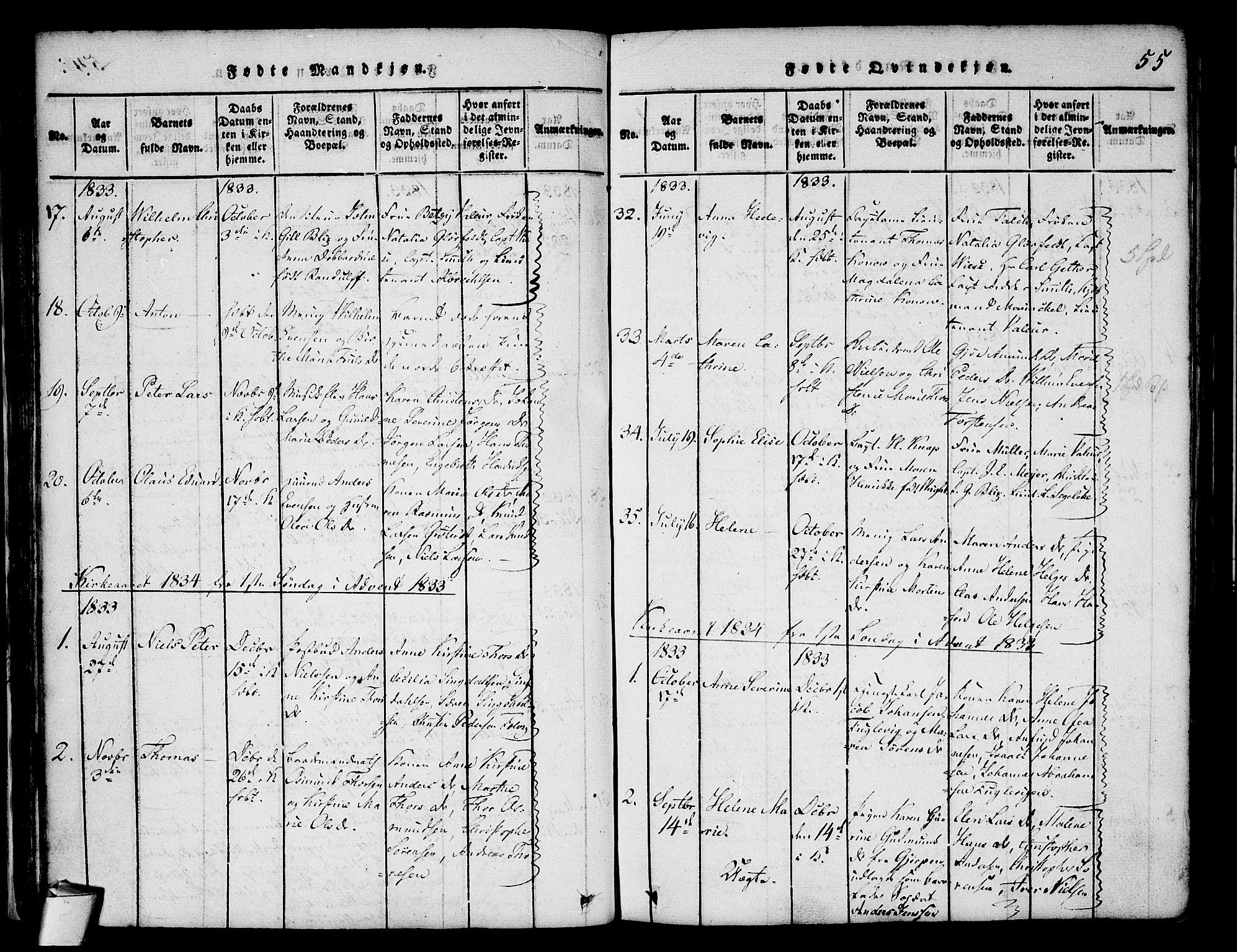 SAKO, Stavern kirkebøker, F/Fa/L0006: Ministerialbok nr. 6, 1816-1839, s. 55
