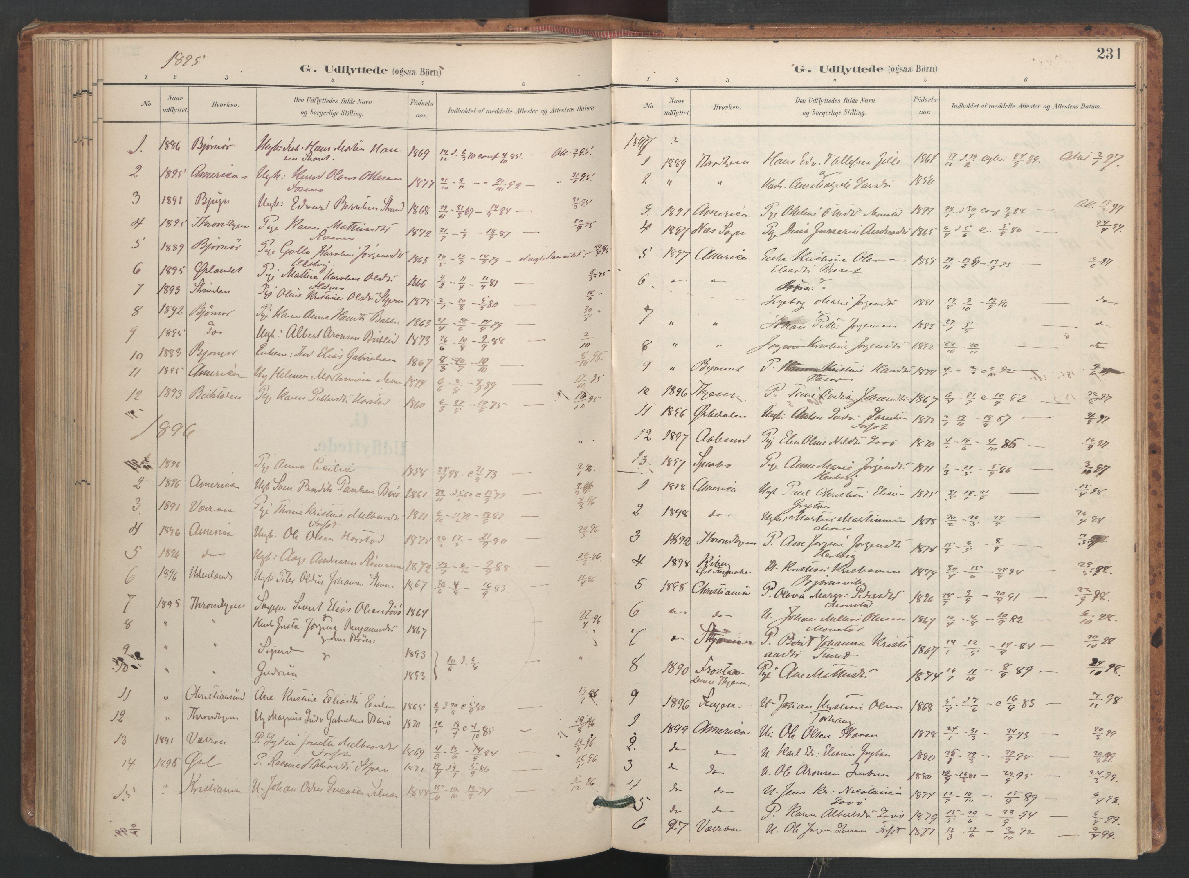 SAT, Ministerialprotokoller, klokkerbøker og fødselsregistre - Sør-Trøndelag, 655/L0681: Ministerialbok nr. 655A10, 1895-1907, s. 231