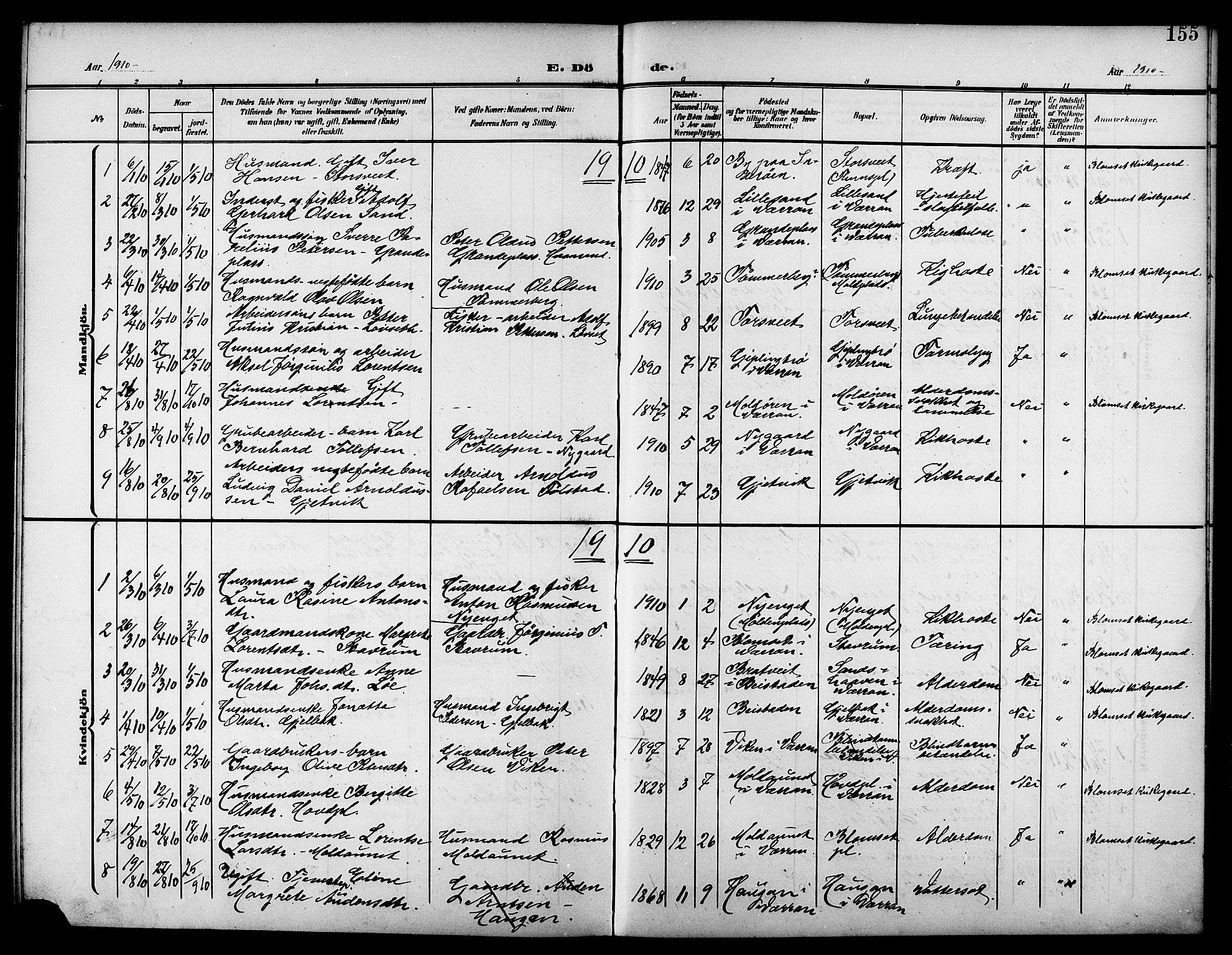 SAT, Ministerialprotokoller, klokkerbøker og fødselsregistre - Nord-Trøndelag, 744/L0424: Klokkerbok nr. 744C03, 1906-1923, s. 155