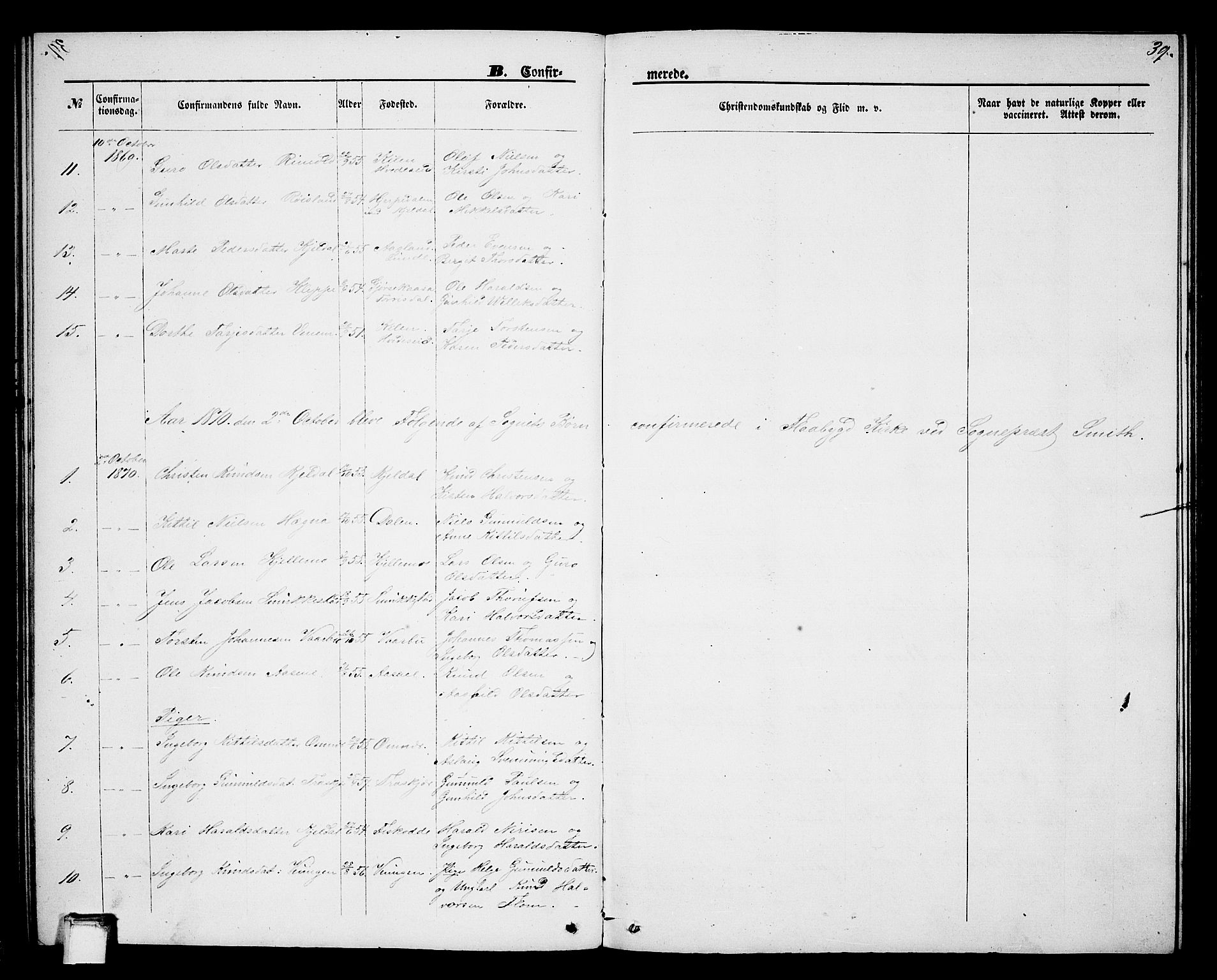 SAKO, Lunde kirkebøker, G/Gb/L0001: Klokkerbok nr. II 1, 1866-1887, s. 39