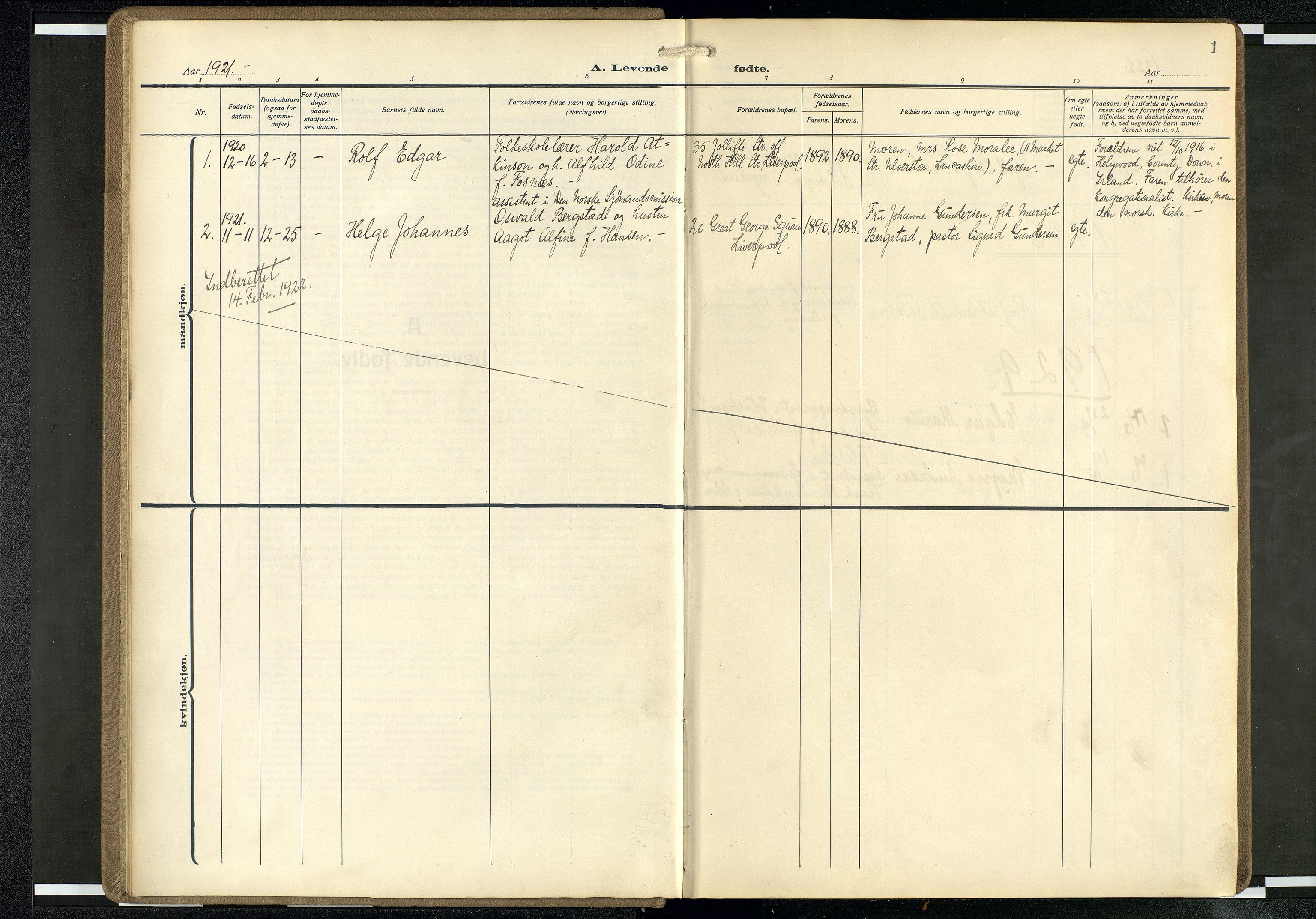 SAB, Privatarkiv 104 - Den norske sjømannsmisjon i utlandet/Mersey-havnene (Liverpool), H/Ha/L0001: Ministerialbok nr. A 1, 1919-1954, s. 1a