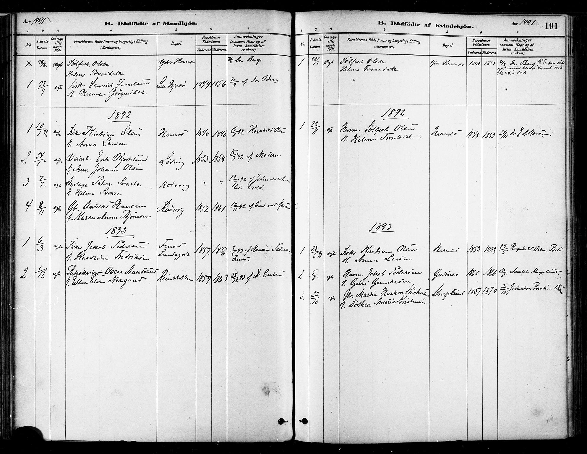 SAT, Ministerialprotokoller, klokkerbøker og fødselsregistre - Nordland, 802/L0054: Ministerialbok nr. 802A01, 1879-1893, s. 191