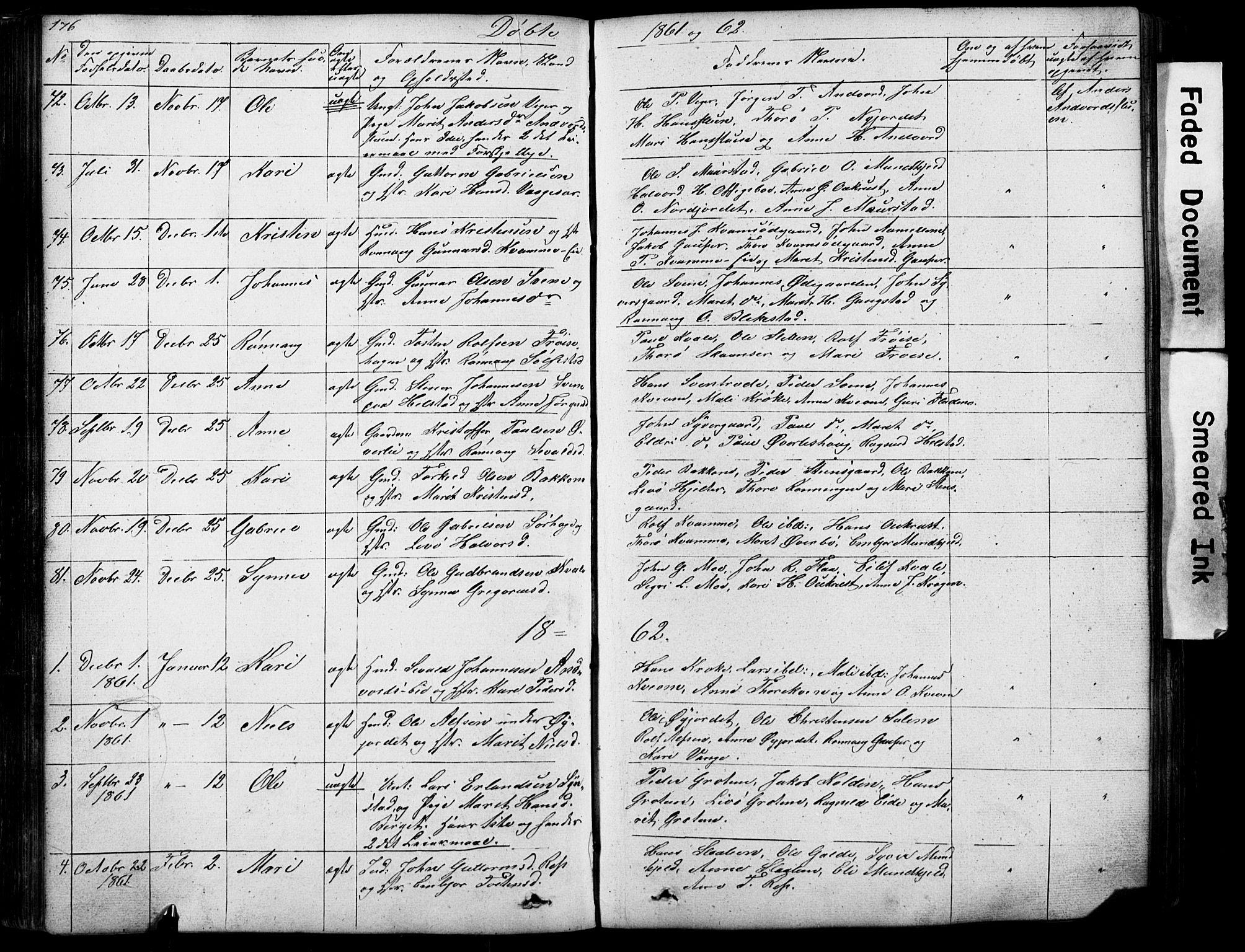 SAH, Lom prestekontor, L/L0012: Klokkerbok nr. 12, 1845-1873, s. 176-177