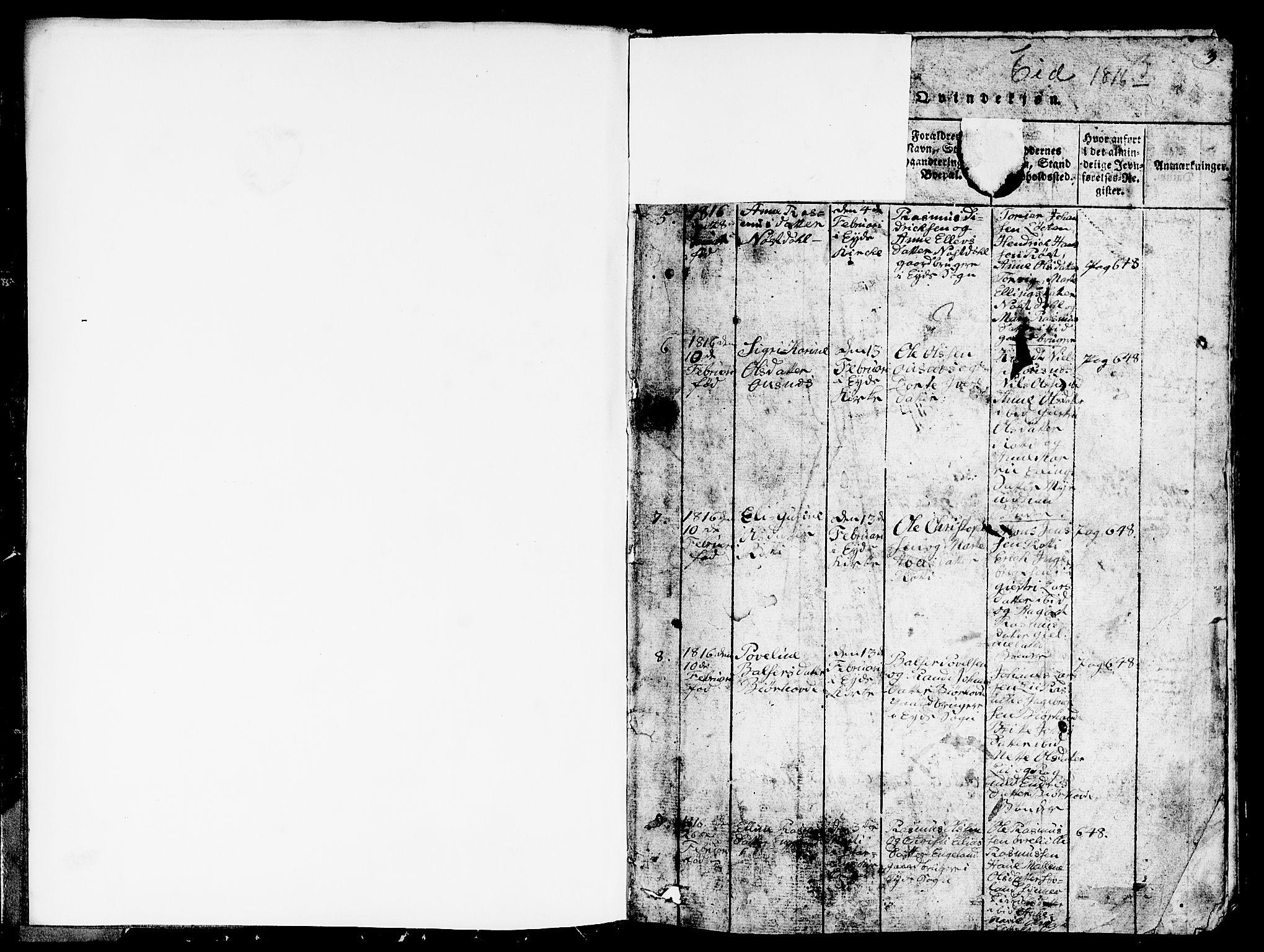 SAB, Eid Sokneprestembete, H/Hab: Klokkerbok nr. A 1, 1816-1862, s. 2-3
